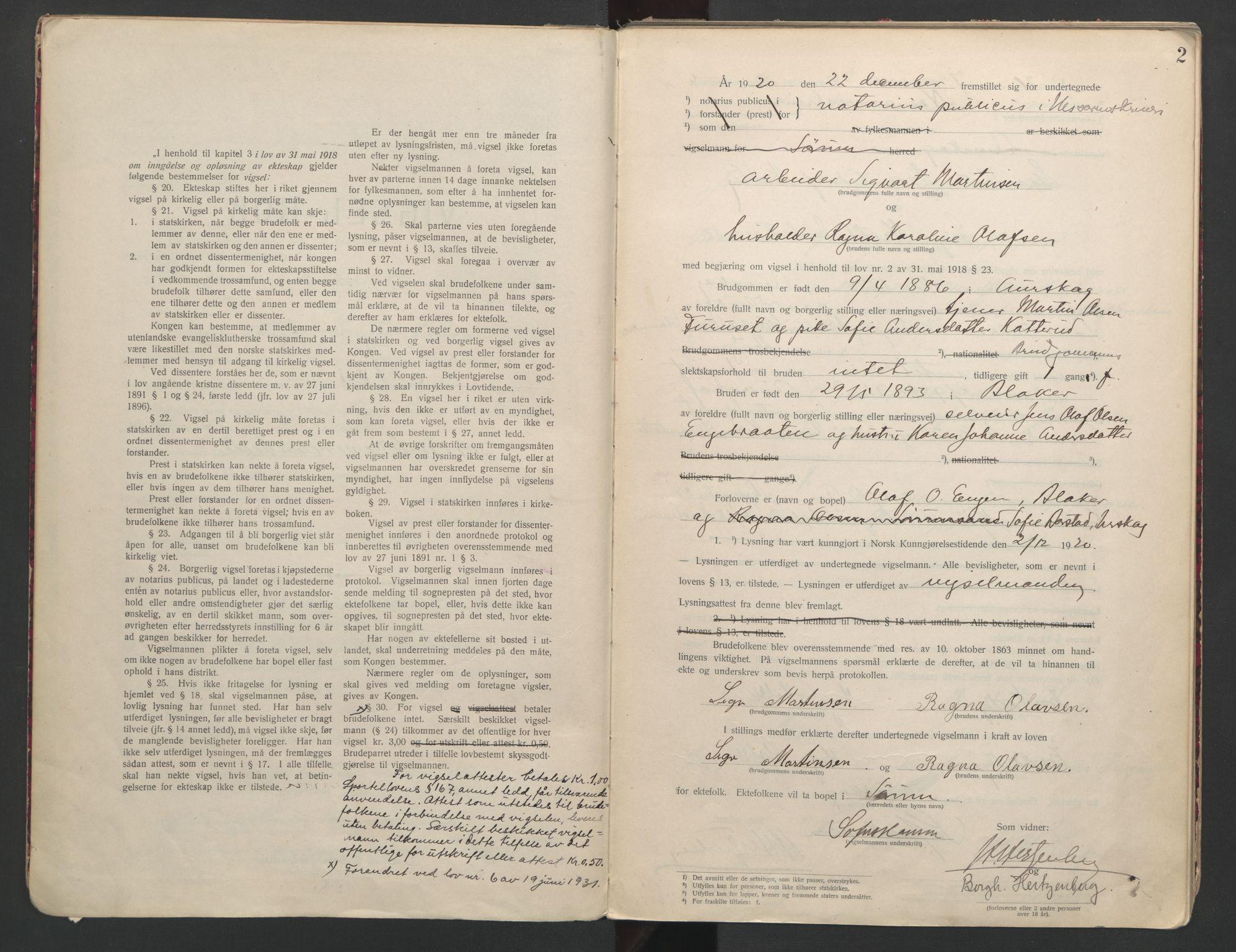 SAO, Nes tingrett, L/Lc/Lca/L0001: Vigselbok, 1920-1943, s. 2