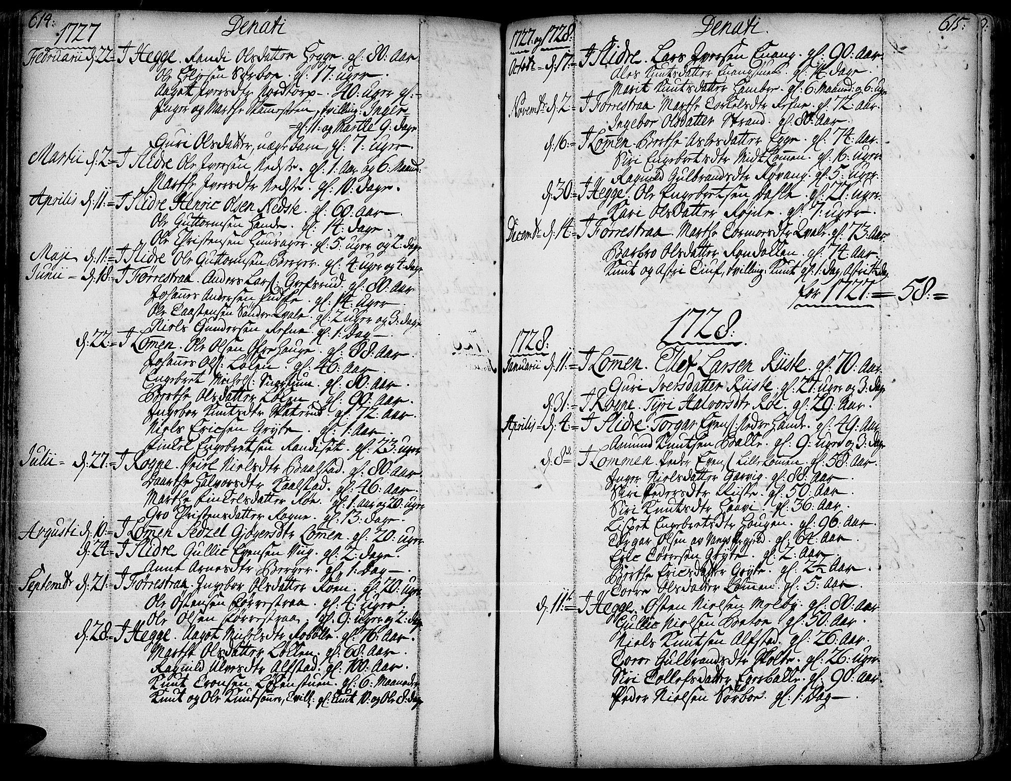 SAH, Slidre prestekontor, Ministerialbok nr. 1, 1724-1814, s. 614-615