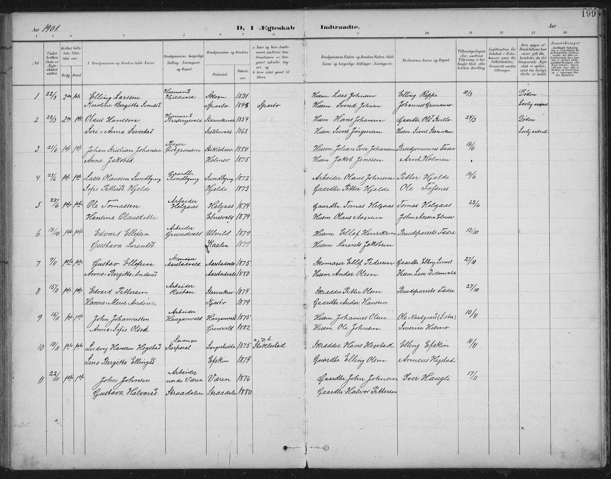 SAT, Ministerialprotokoller, klokkerbøker og fødselsregistre - Nord-Trøndelag, 724/L0269: Klokkerbok nr. 724C05, 1899-1920, s. 199