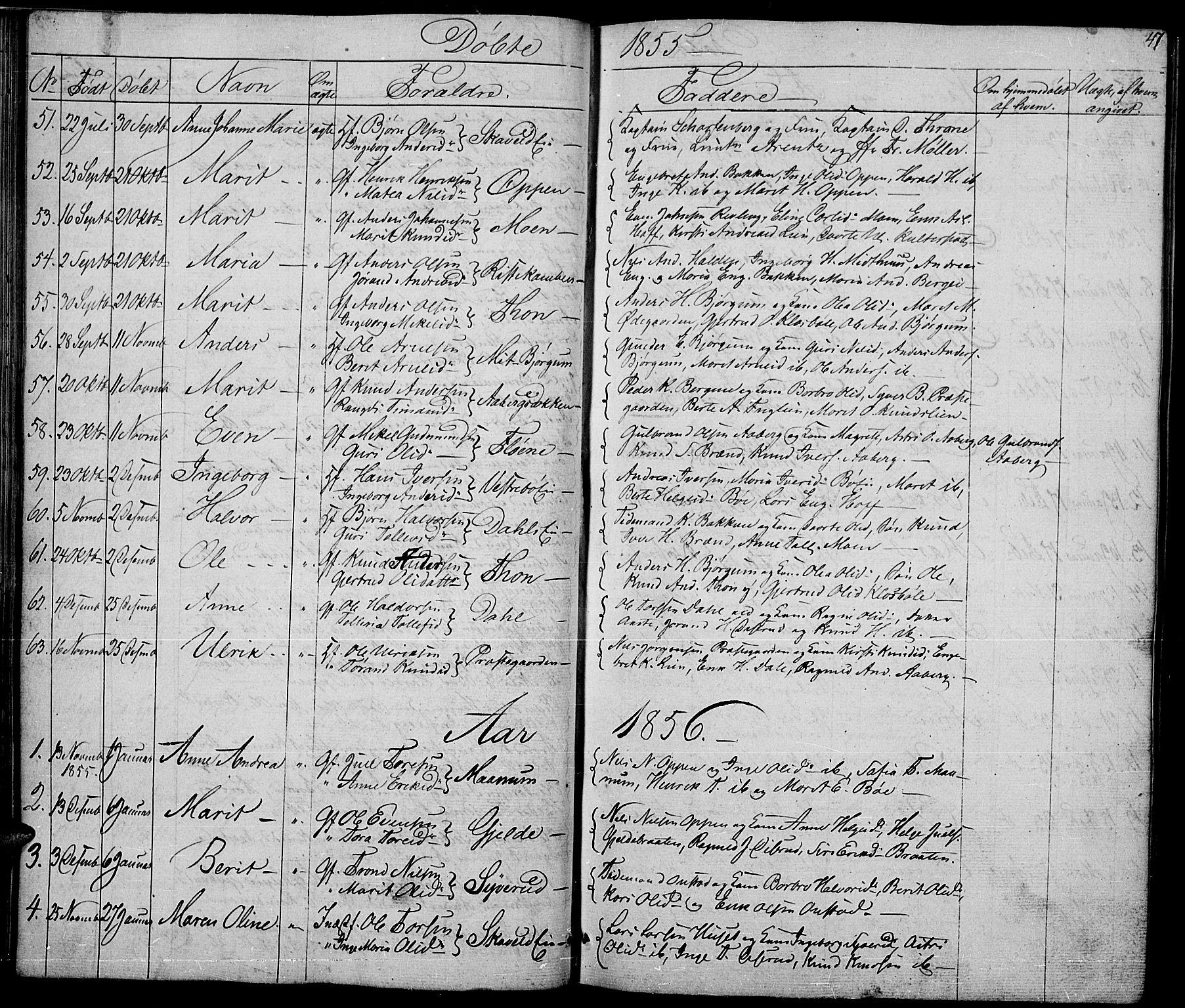 SAH, Nord-Aurdal prestekontor, Klokkerbok nr. 2, 1842-1877, s. 47