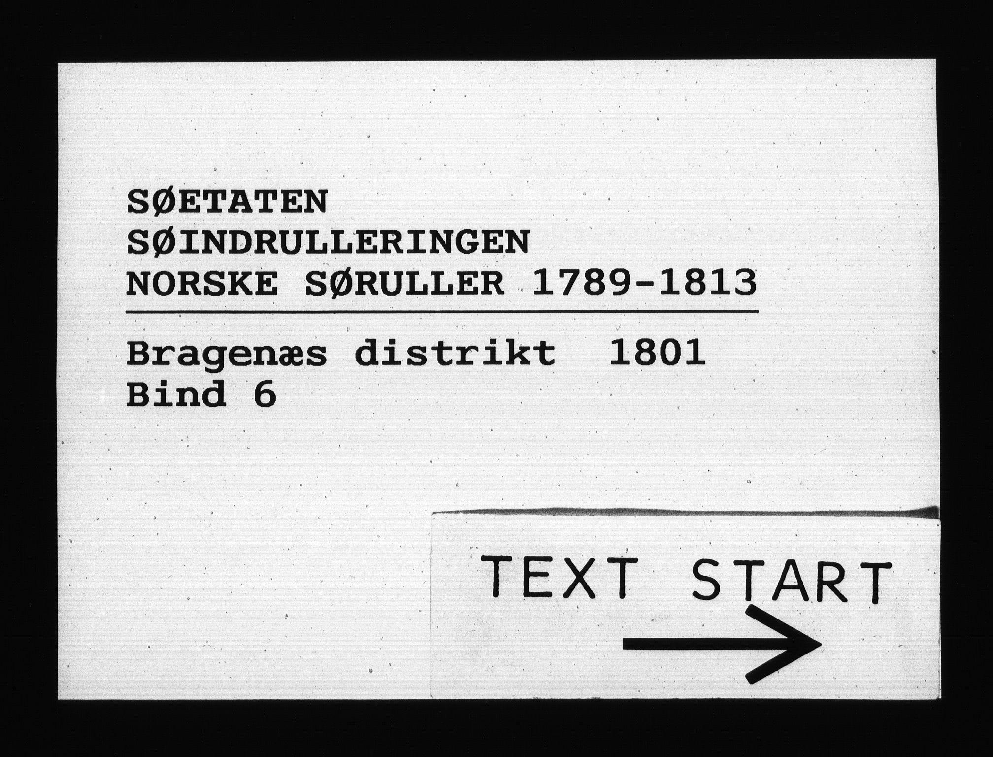 RA, Sjøetaten, F/L0139: Bragernes distrikt, bind 6, 1801