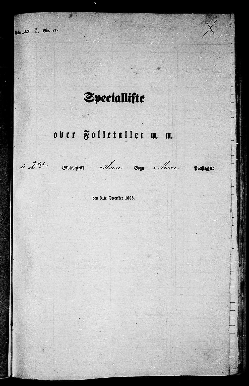 RA, Folketelling 1865 for 1569P Aure prestegjeld, 1865, s. 30