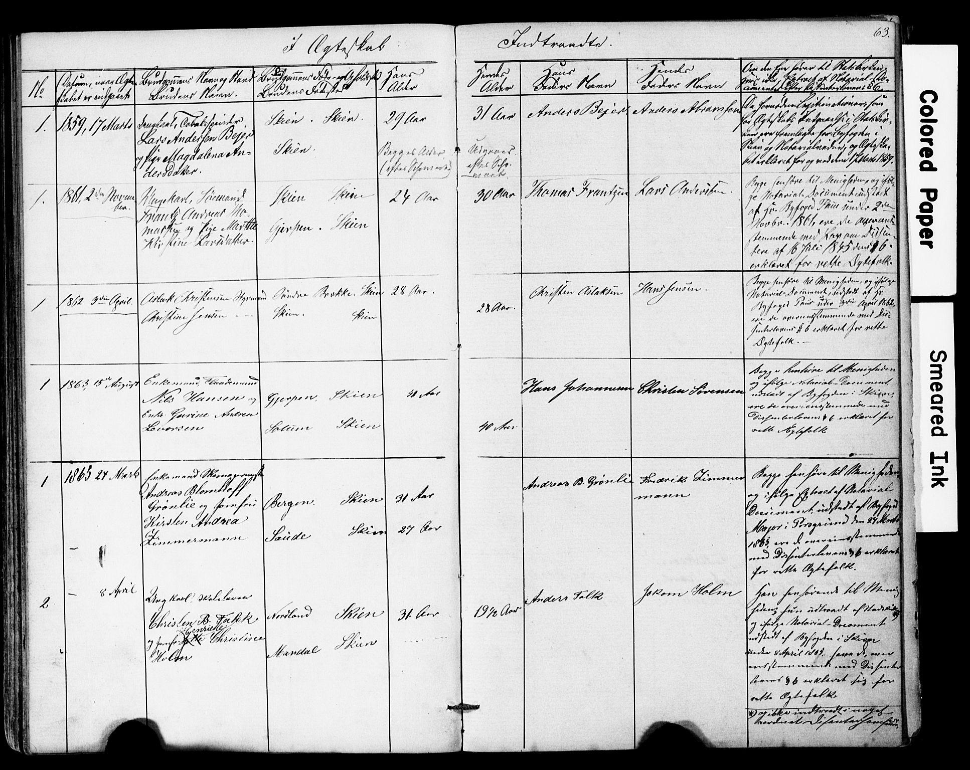 SAKO, Den frie apostolisk-kristelige menighet i Skien, F/Fa/L0001: Dissenterprotokoll nr. 1, 1856-1892, s. 63