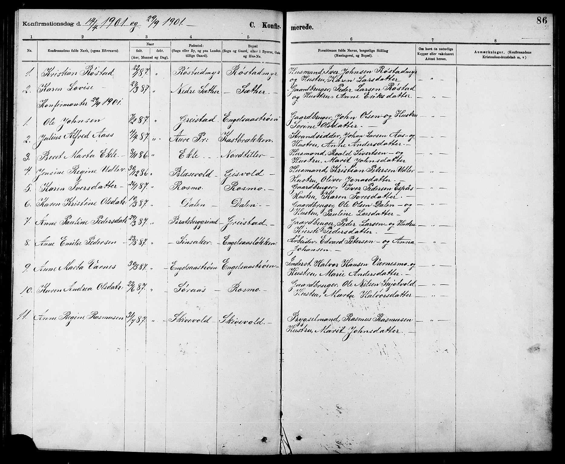 SAT, Ministerialprotokoller, klokkerbøker og fødselsregistre - Sør-Trøndelag, 608/L0341: Klokkerbok nr. 608C07, 1890-1912, s. 86