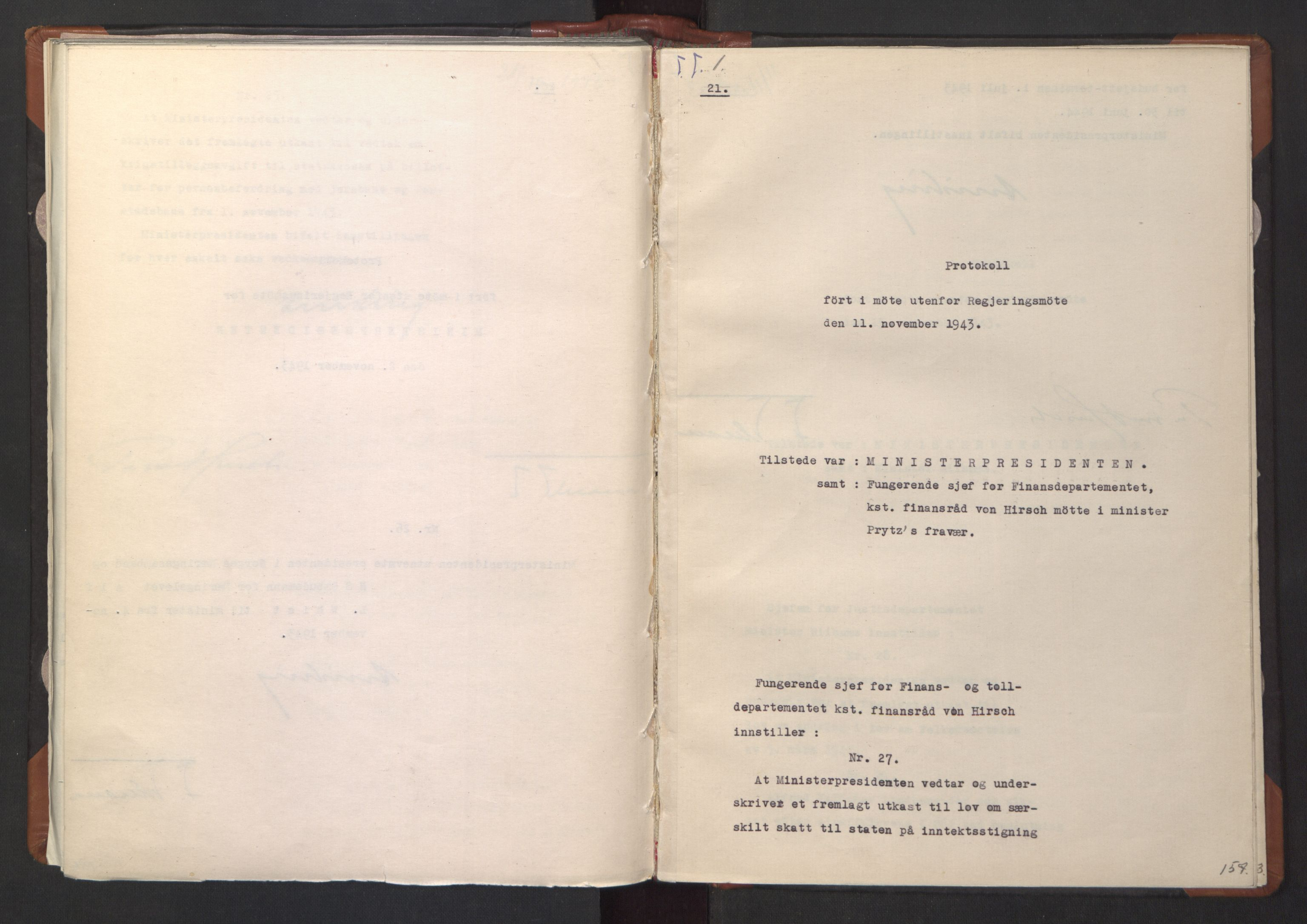 RA, NS-administrasjonen 1940-1945 (Statsrådsekretariatet, de kommisariske statsråder mm), D/Da/L0003: Vedtak (Beslutninger) nr. 1-746 og tillegg nr. 1-47 (RA. j.nr. 1394/1944, tilgangsnr. 8/1944, 1943, s. 156b-157a