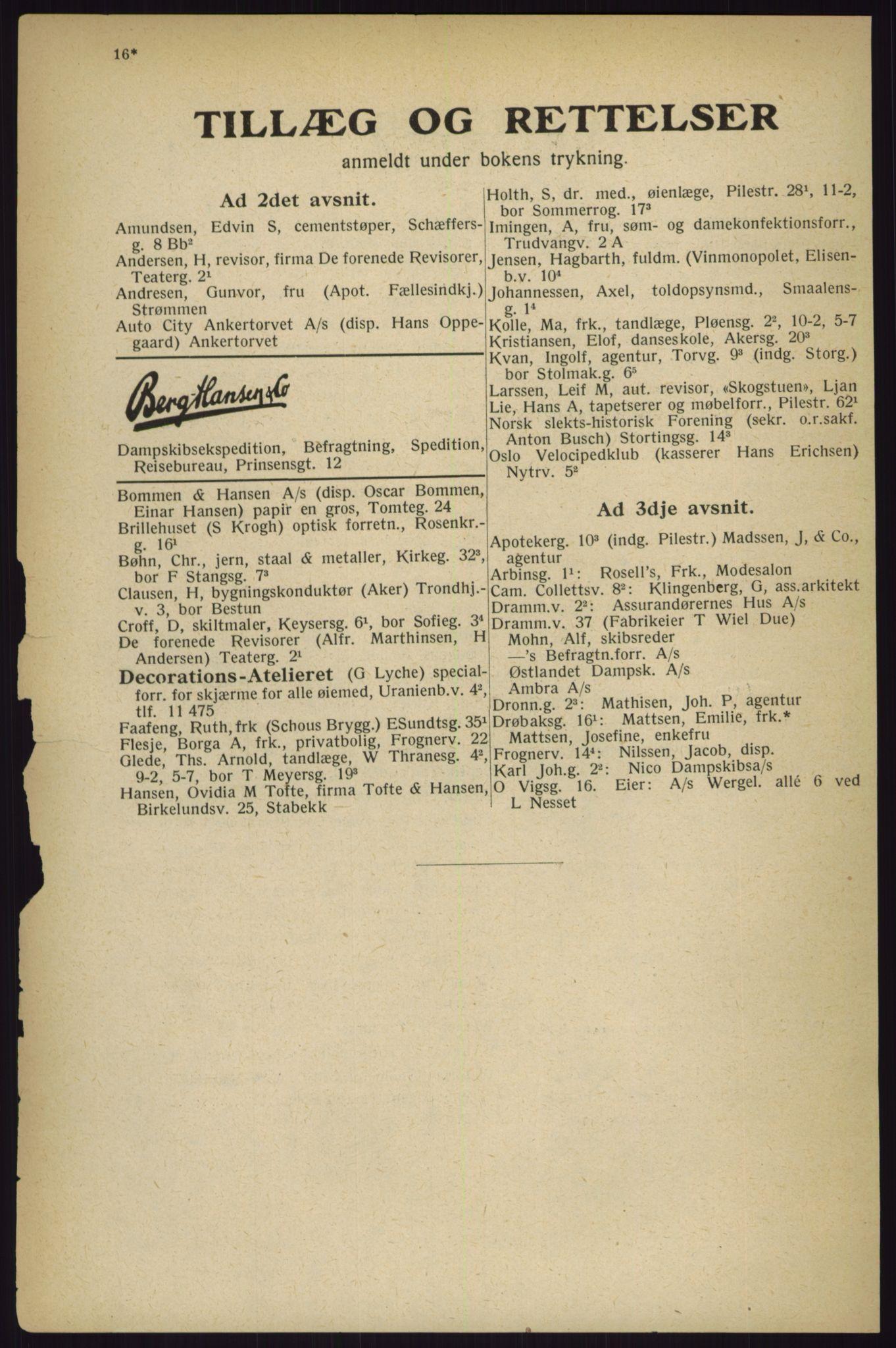 RA, Oslo adressebok (publikasjon)*, 1927, s. 16