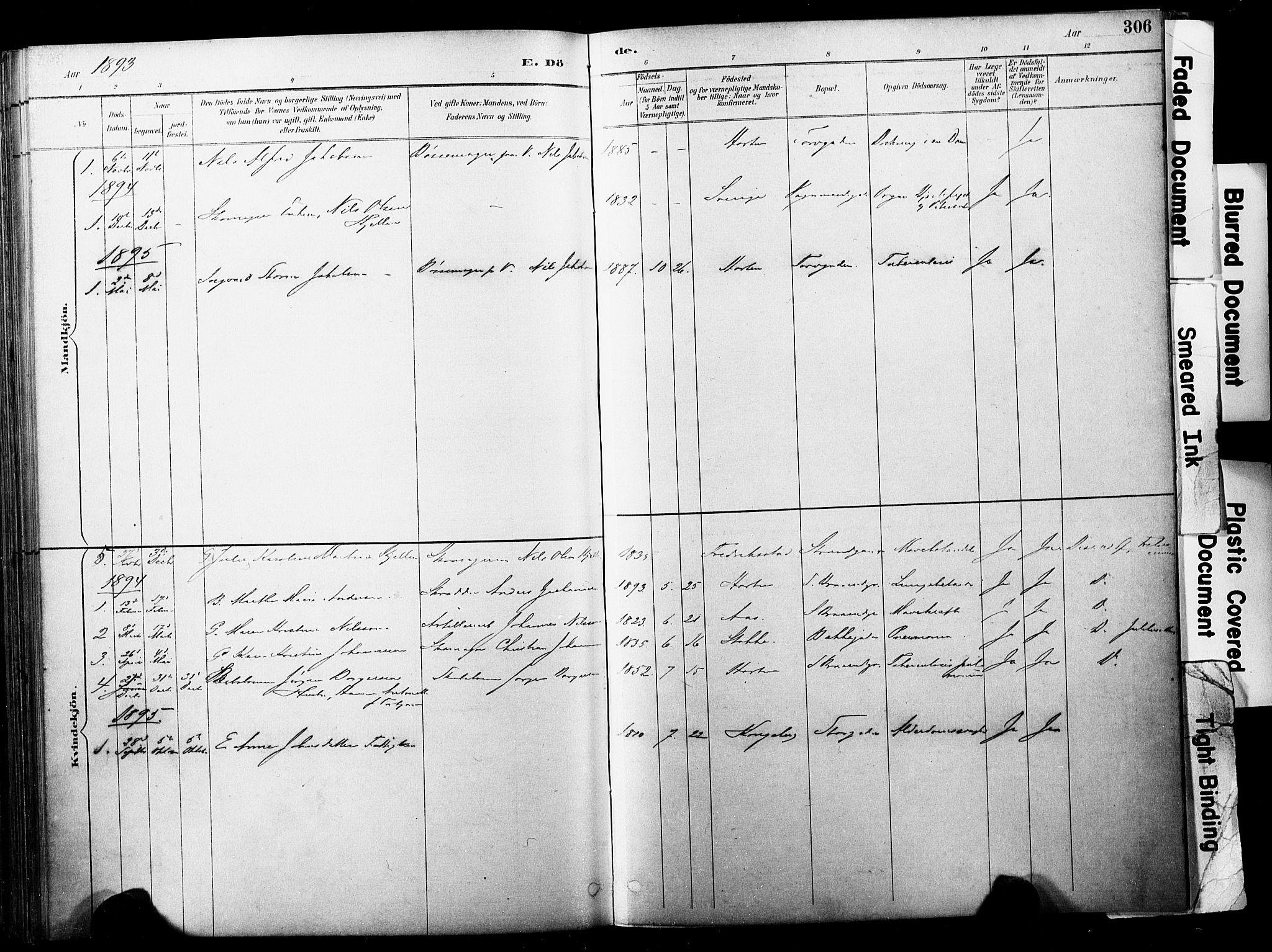 SAKO, Horten kirkebøker, F/Fa/L0004: Ministerialbok nr. 4, 1888-1895, s. 306