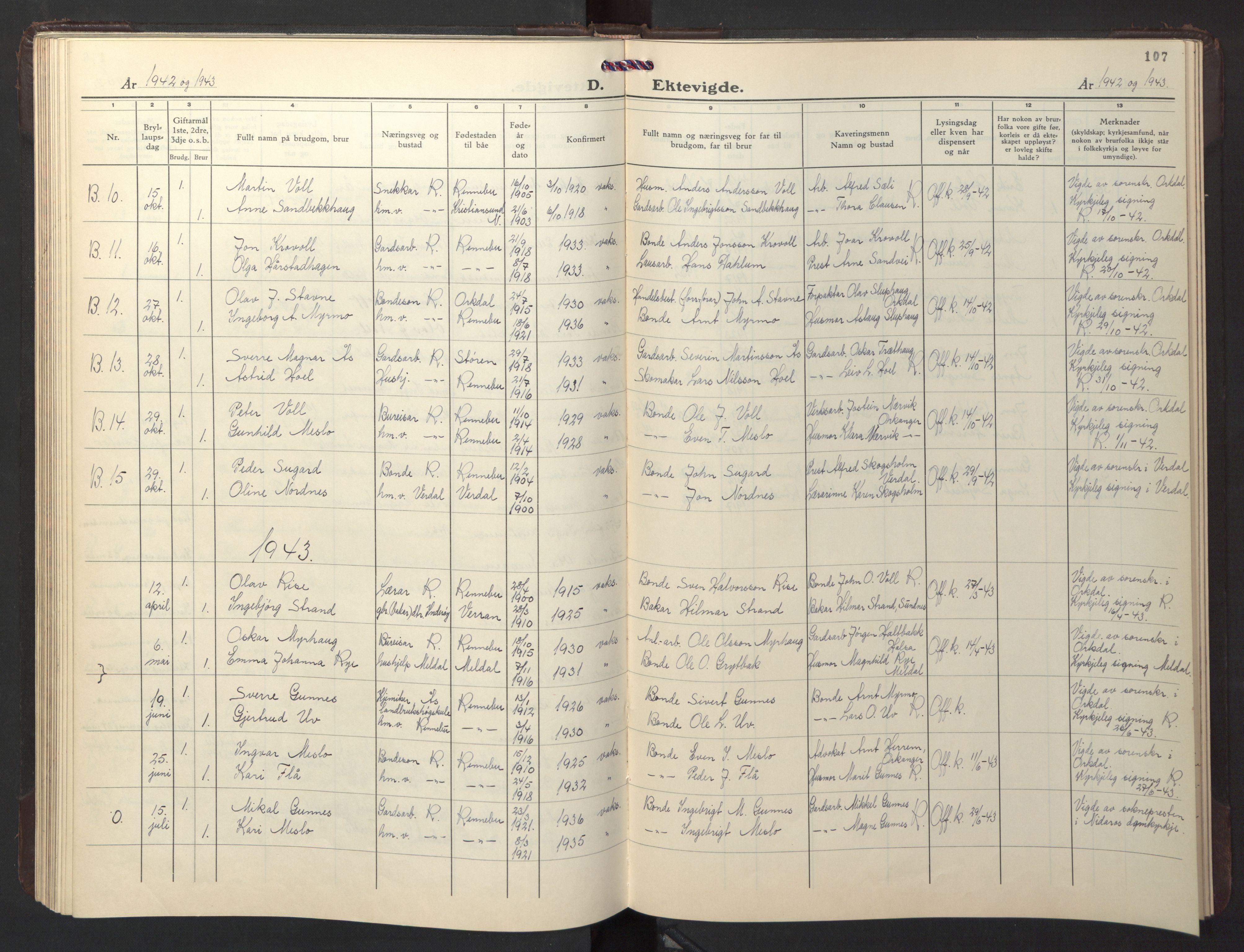 SAT, Ministerialprotokoller, klokkerbøker og fødselsregistre - Sør-Trøndelag, 674/L0878: Klokkerbok nr. 674C05, 1941-1950, s. 107