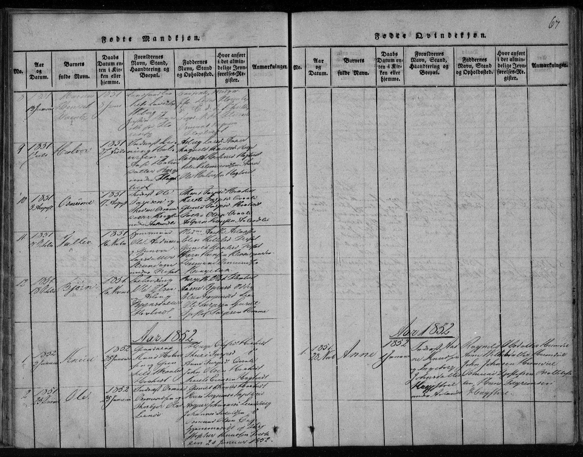SAKO, Lårdal kirkebøker, F/Fa/L0005: Ministerialbok nr. I 5, 1815-1860, s. 67