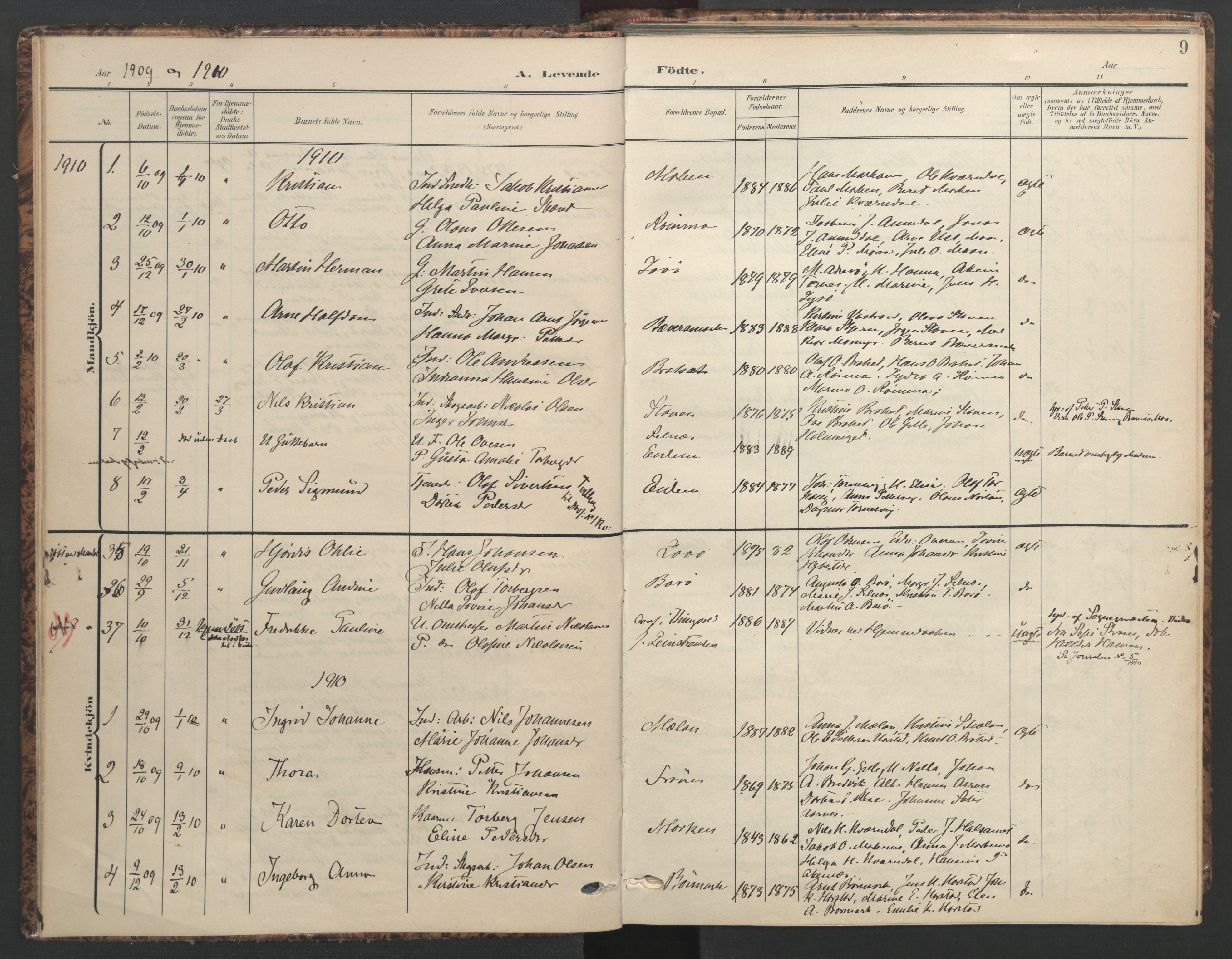 SAT, Ministerialprotokoller, klokkerbøker og fødselsregistre - Sør-Trøndelag, 655/L0682: Ministerialbok nr. 655A11, 1908-1922, s. 9