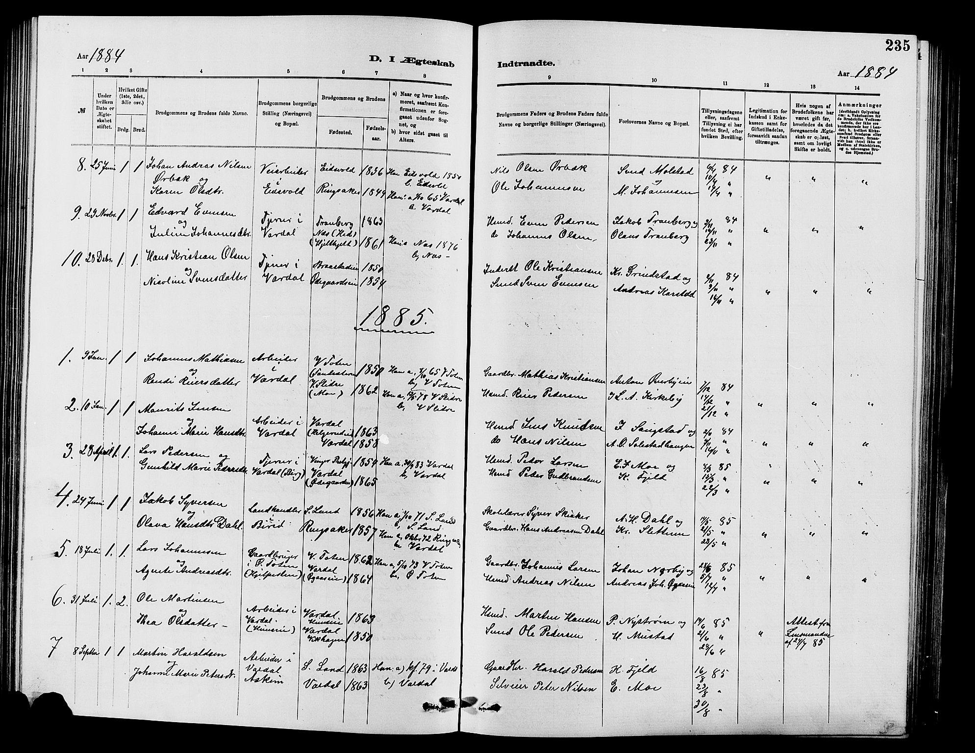 SAH, Vardal prestekontor, H/Ha/Hab/L0007: Klokkerbok nr. 7 /1, 1881-1895, s. 235
