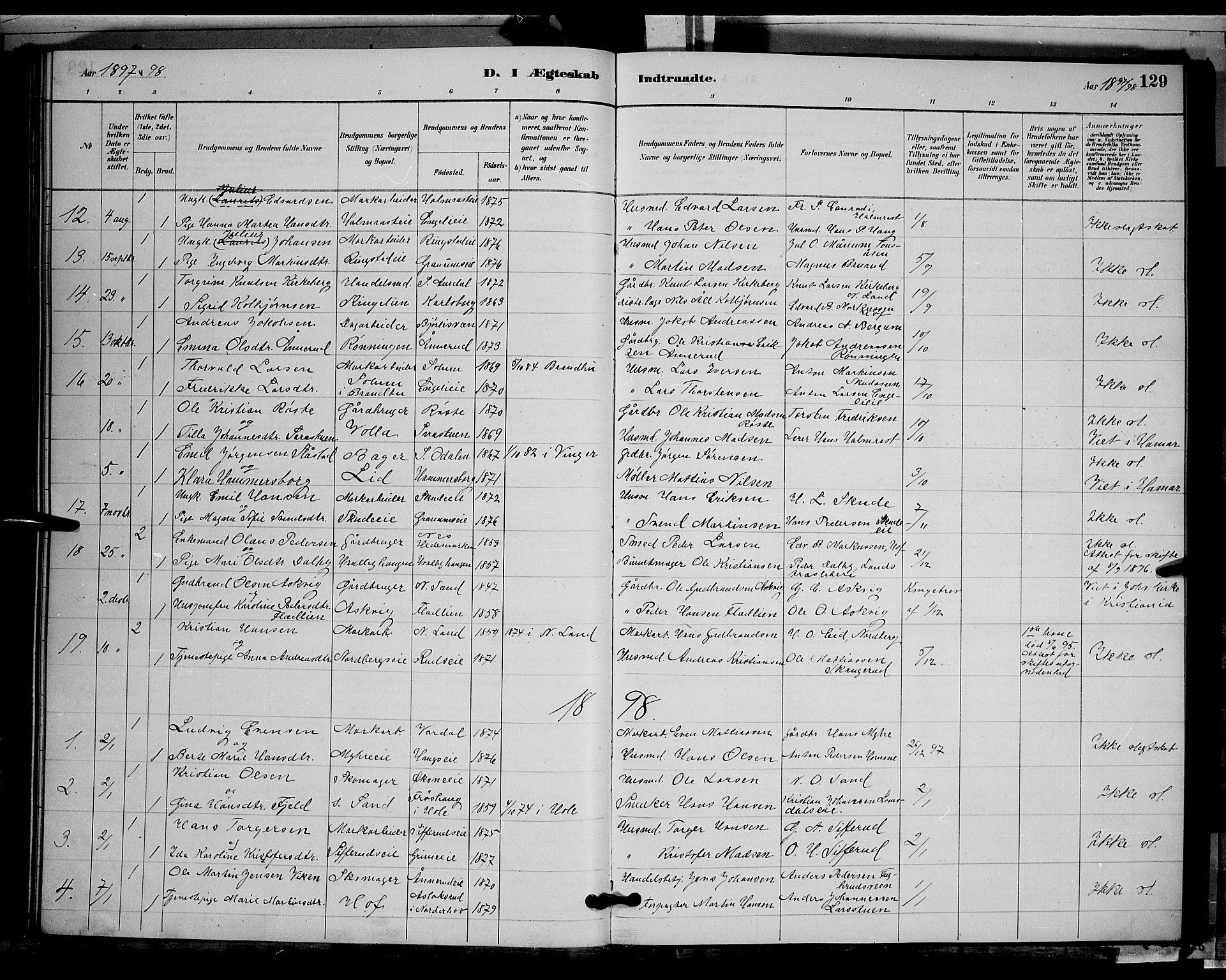 SAH, Søndre Land prestekontor, L/L0002: Klokkerbok nr. 2, 1884-1900, s. 129