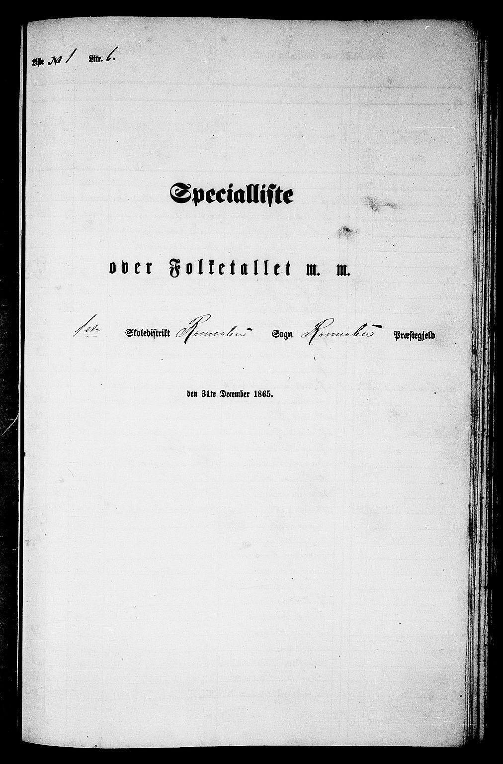 RA, Folketelling 1865 for 1635P Rennebu prestegjeld, 1865, s. 20