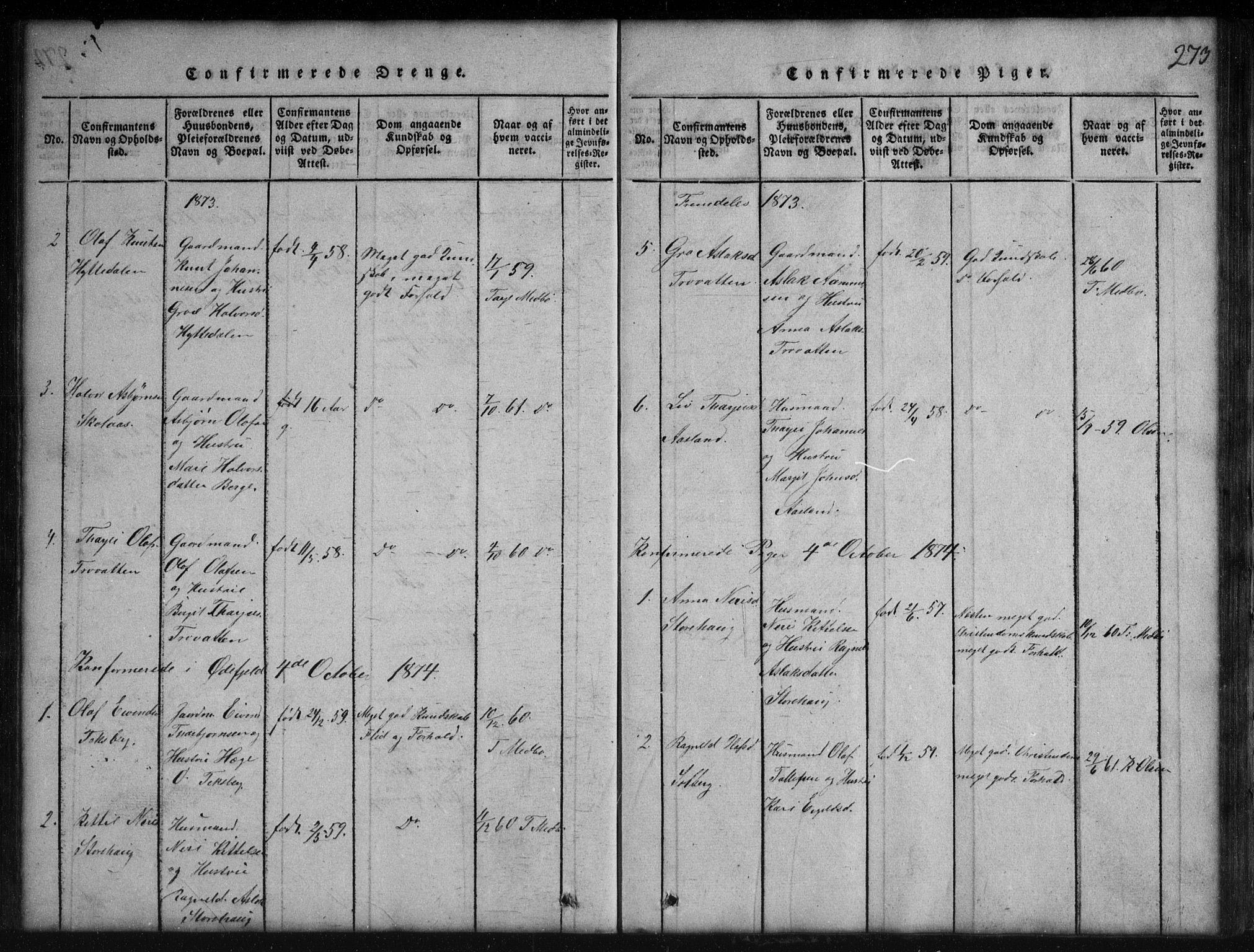 SAKO, Rauland kirkebøker, G/Gb/L0001: Klokkerbok nr. II 1, 1815-1886, s. 273