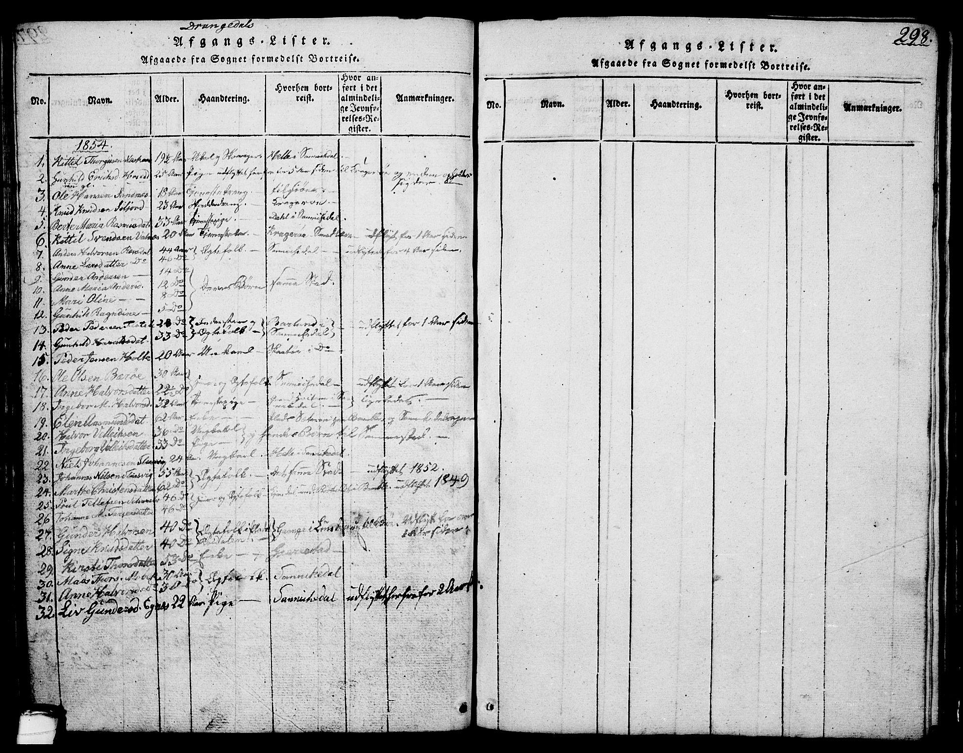 SAKO, Drangedal kirkebøker, G/Ga/L0001: Klokkerbok nr. I 1 /1, 1814-1856, s. 298