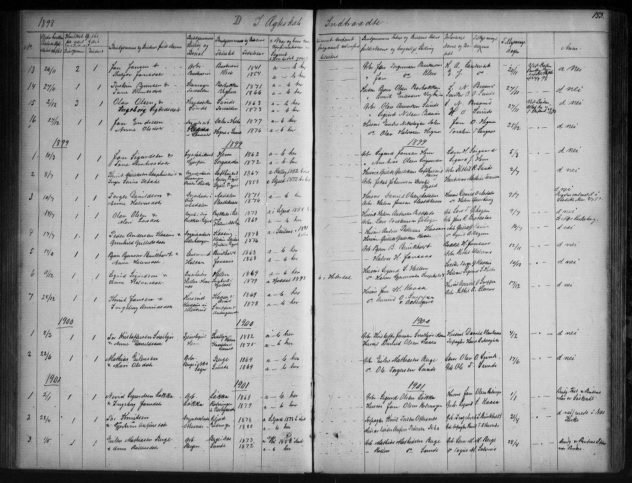 SAKO, Sauherad kirkebøker, G/Ga/L0003: Klokkerbok nr. I 3, 1866-1905, s. 153