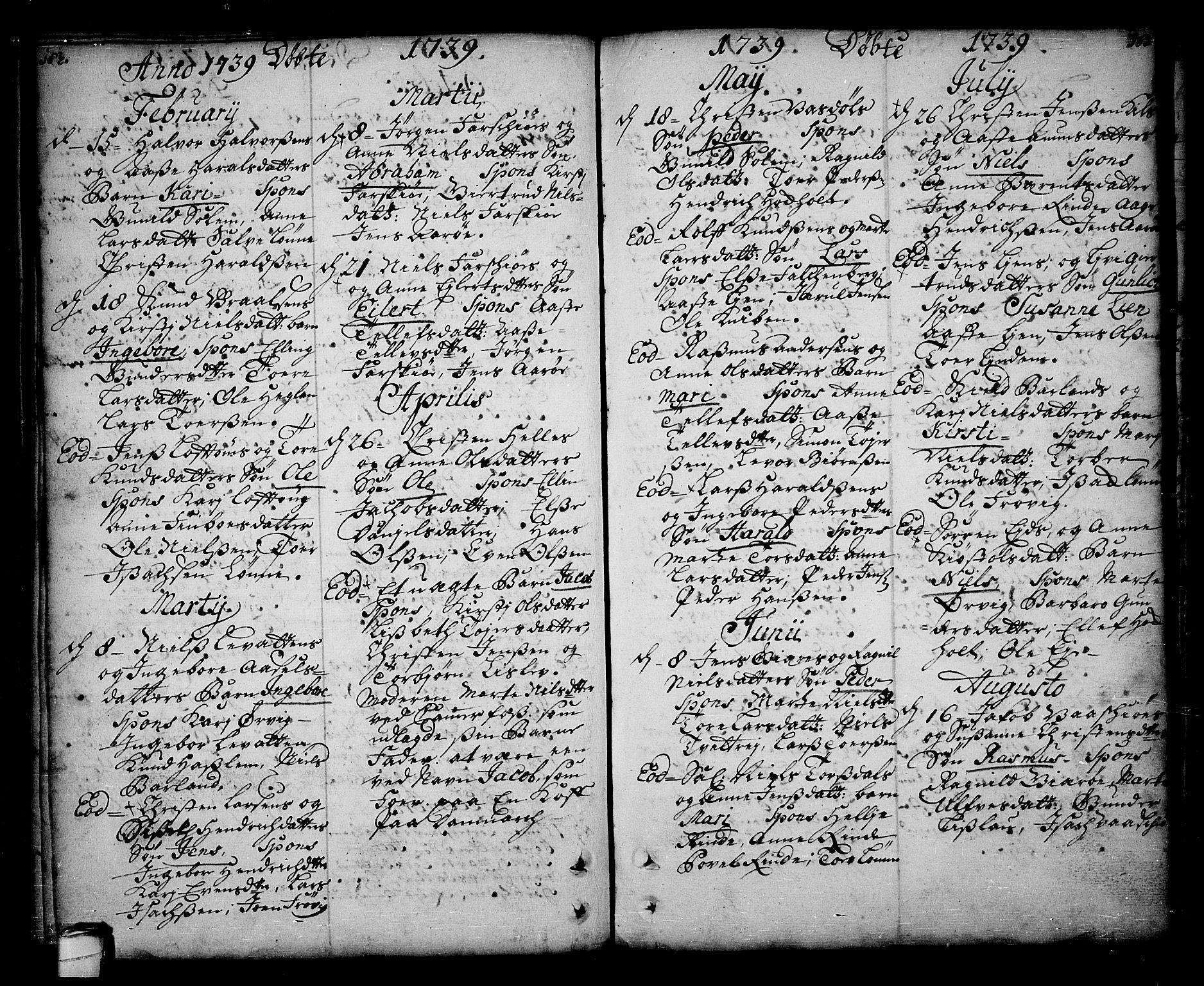 SAKO, Sannidal kirkebøker, F/Fa/L0001: Ministerialbok nr. 1, 1702-1766, s. 162-163