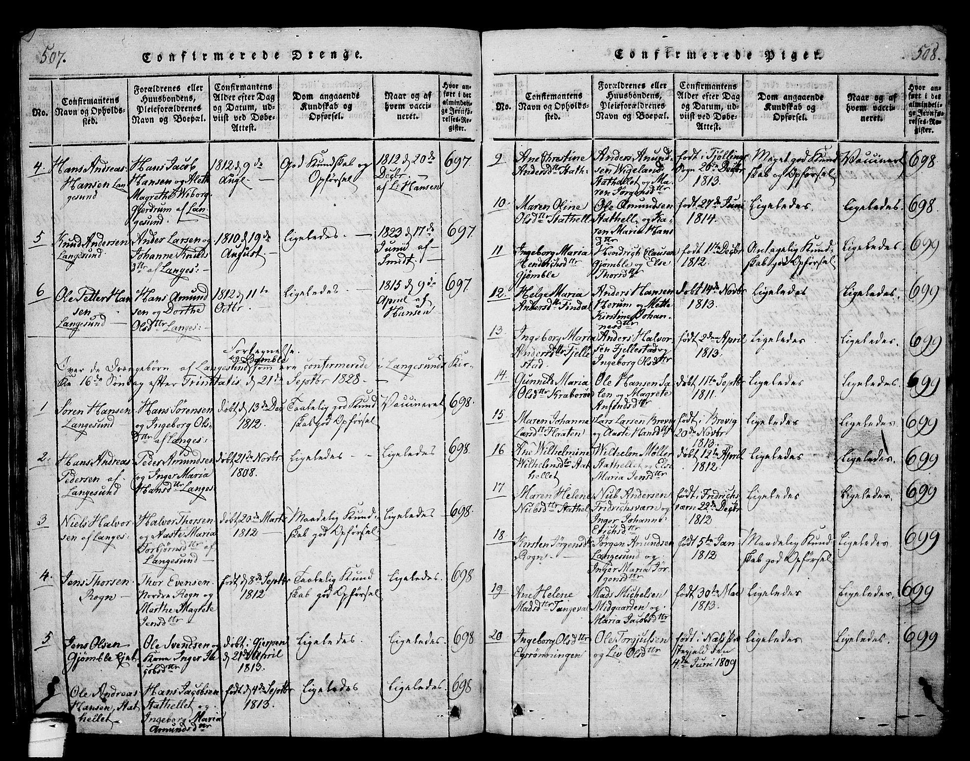 SAKO, Langesund kirkebøker, G/Ga/L0003: Klokkerbok nr. 3, 1815-1858, s. 507-508