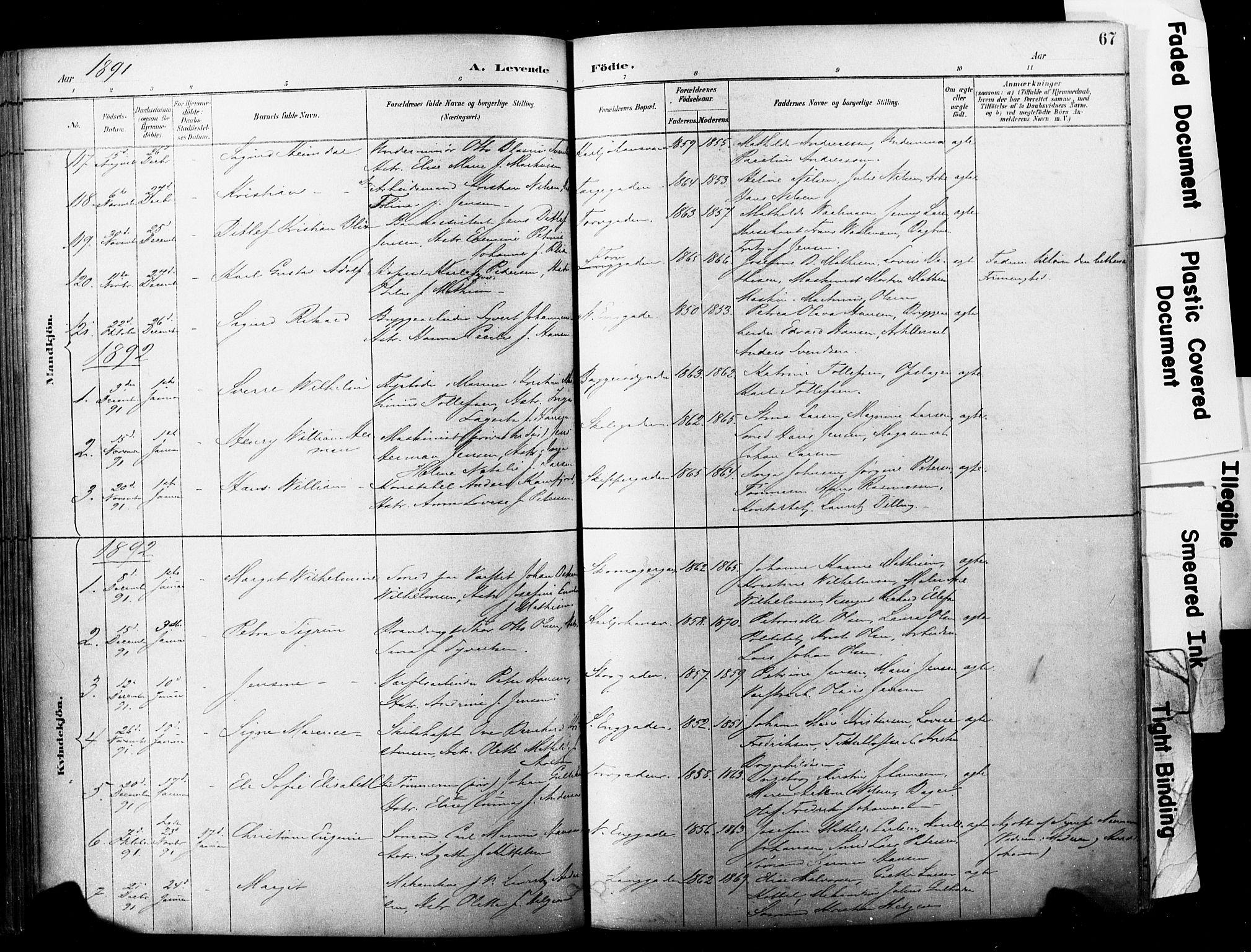 SAKO, Horten kirkebøker, F/Fa/L0004: Ministerialbok nr. 4, 1888-1895, s. 67