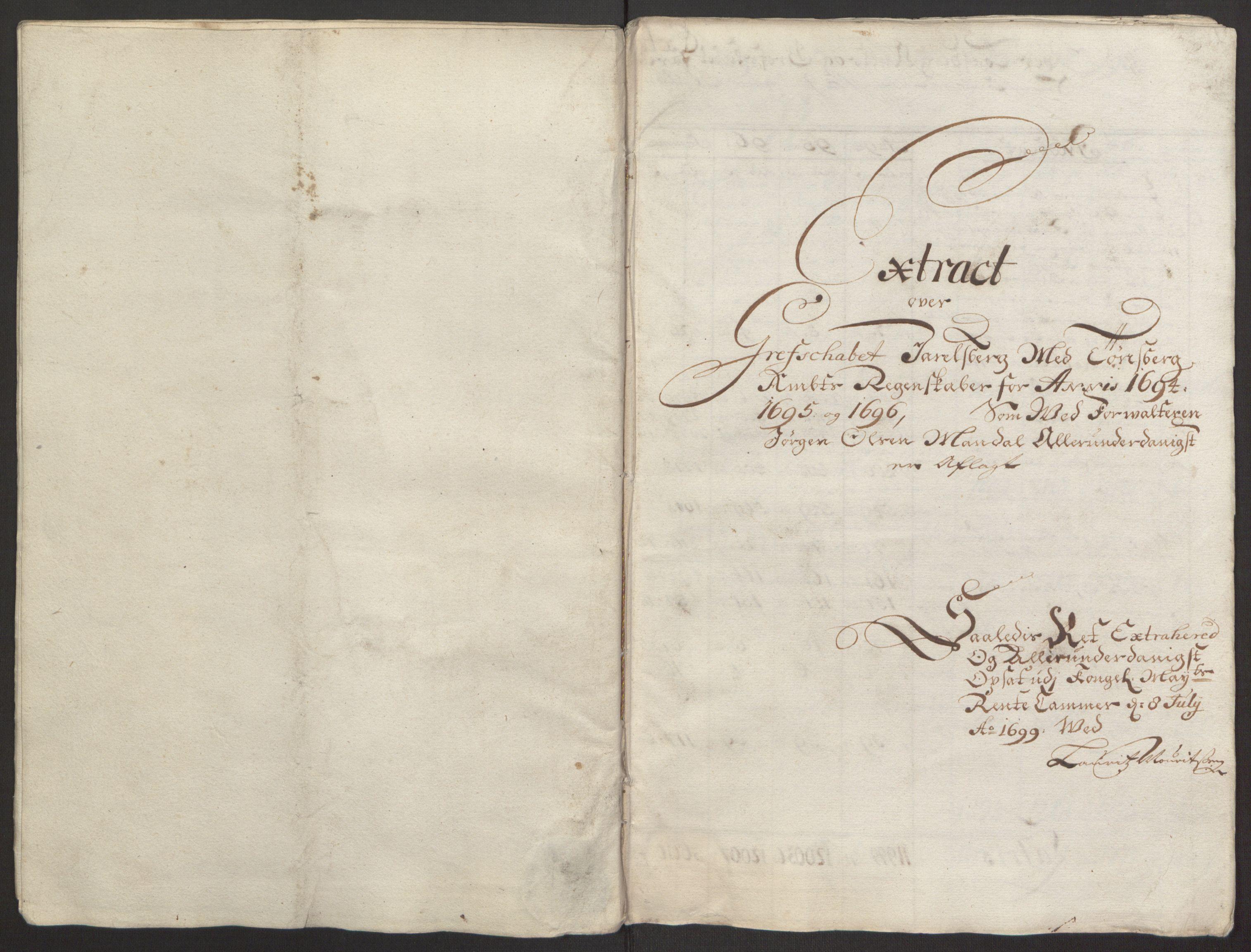 RA, Rentekammeret inntil 1814, Reviderte regnskaper, Fogderegnskap, R32/L1867: Fogderegnskap Jarlsberg grevskap, 1694-1696, s. 443