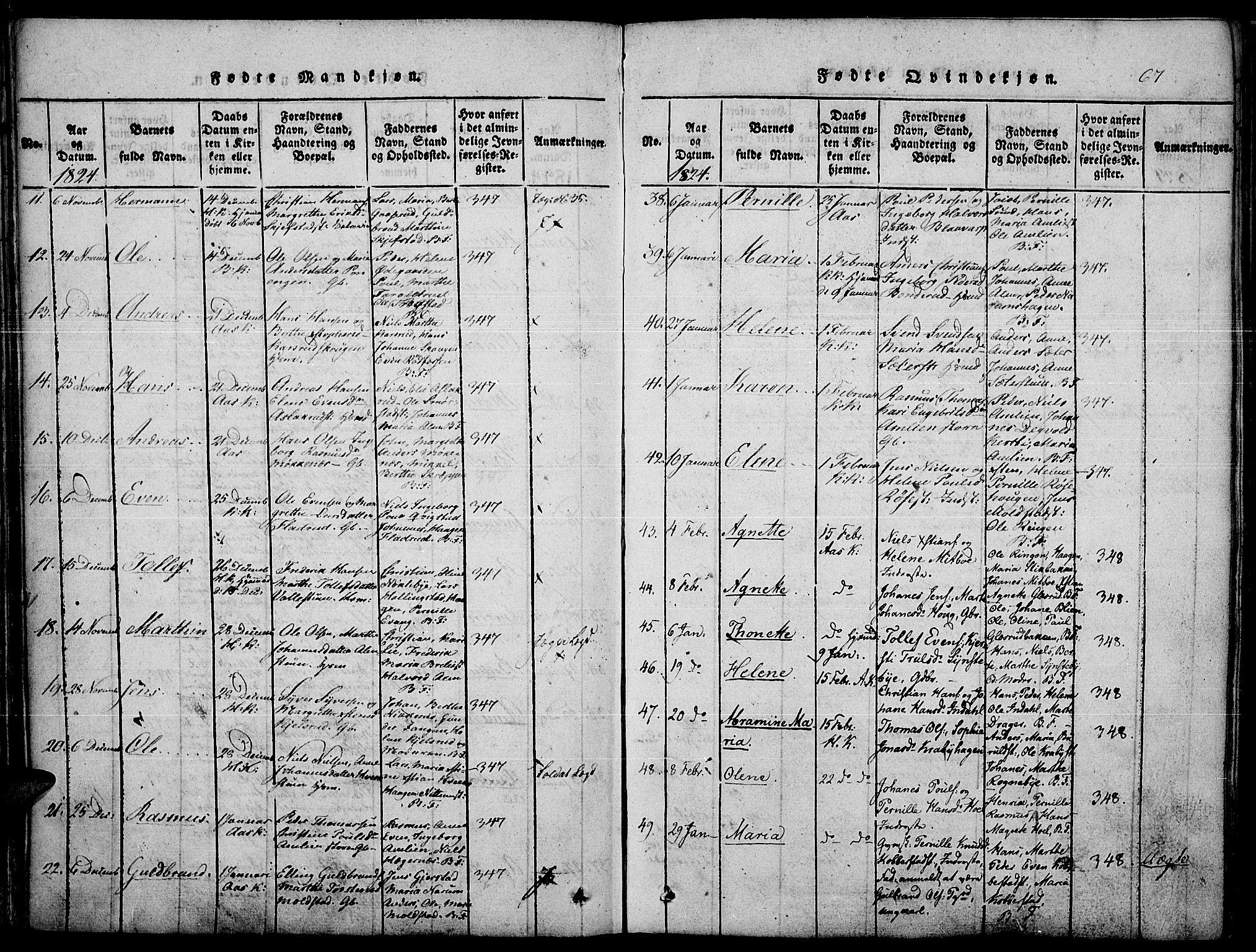 SAH, Toten prestekontor, Ministerialbok nr. 10, 1820-1828, s. 67