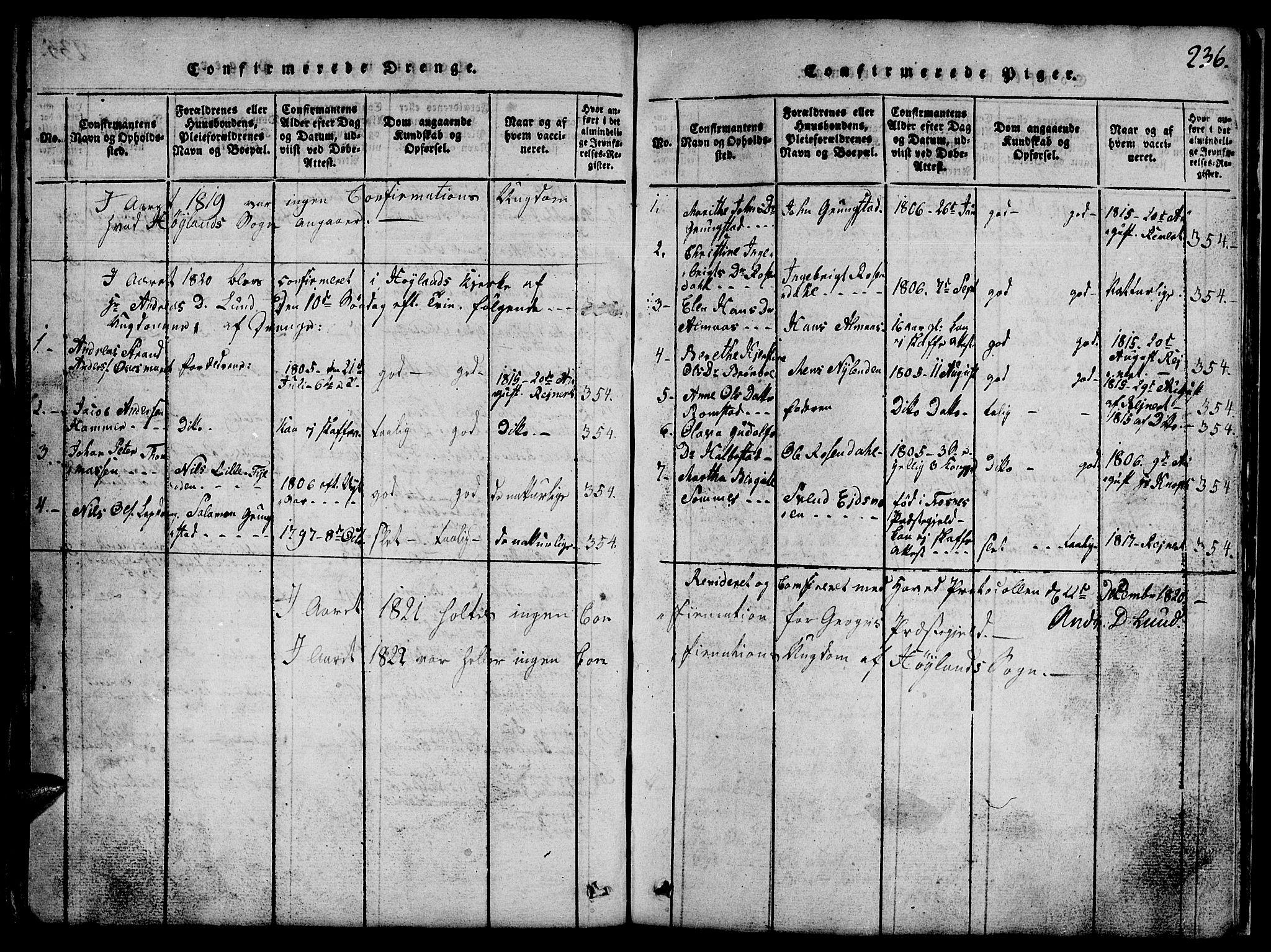 SAT, Ministerialprotokoller, klokkerbøker og fødselsregistre - Nord-Trøndelag, 765/L0562: Klokkerbok nr. 765C01, 1817-1851, s. 236