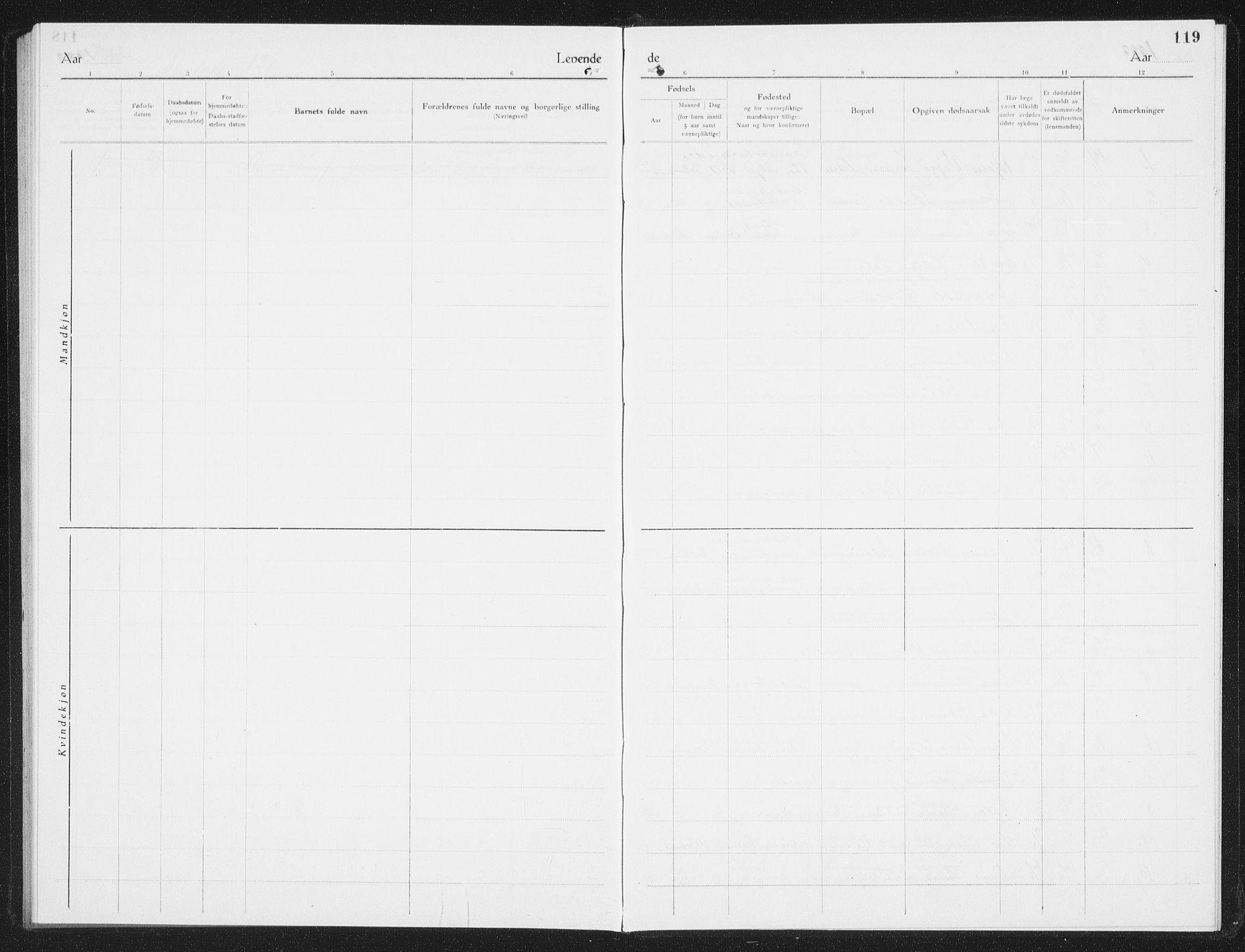 SAT, Ministerialprotokoller, klokkerbøker og fødselsregistre - Nordland, 801/L0036: Klokkerbok nr. 801C11, 1920-1934, s. 119