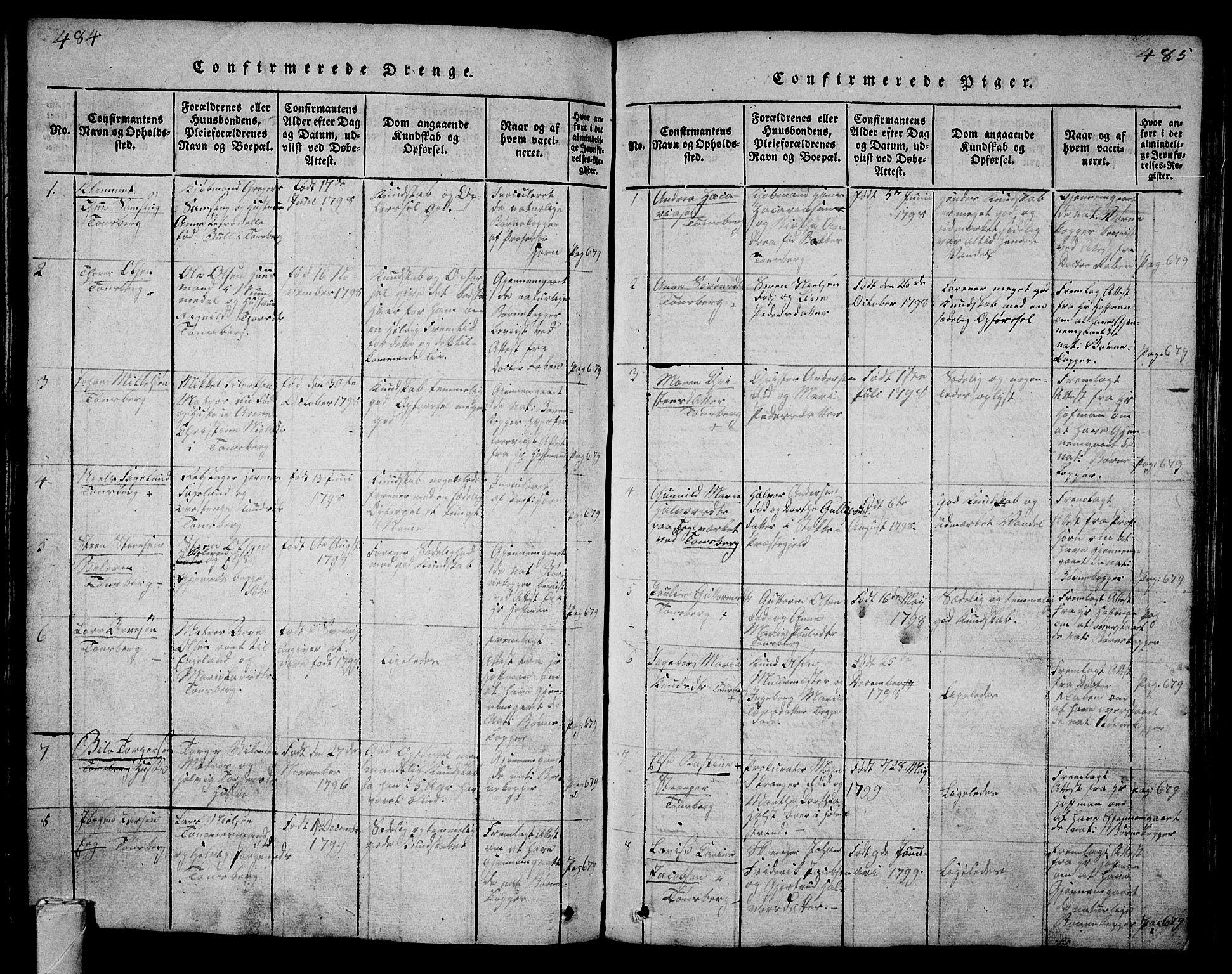 SAKO, Tønsberg kirkebøker, G/Ga/L0001: Klokkerbok nr. 1, 1813-1826, s. 484-485