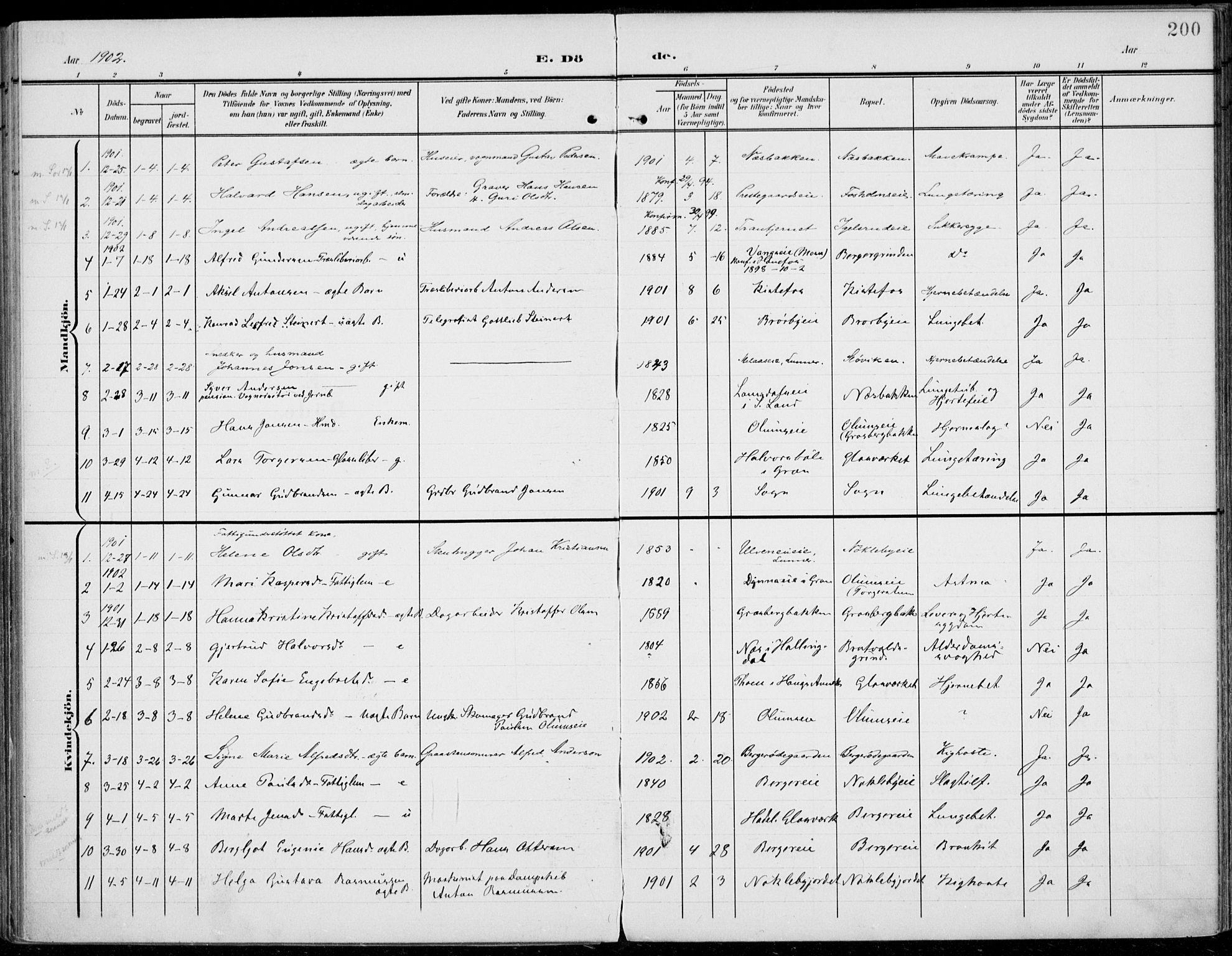 SAH, Jevnaker prestekontor, Ministerialbok nr. 11, 1902-1913, s. 200