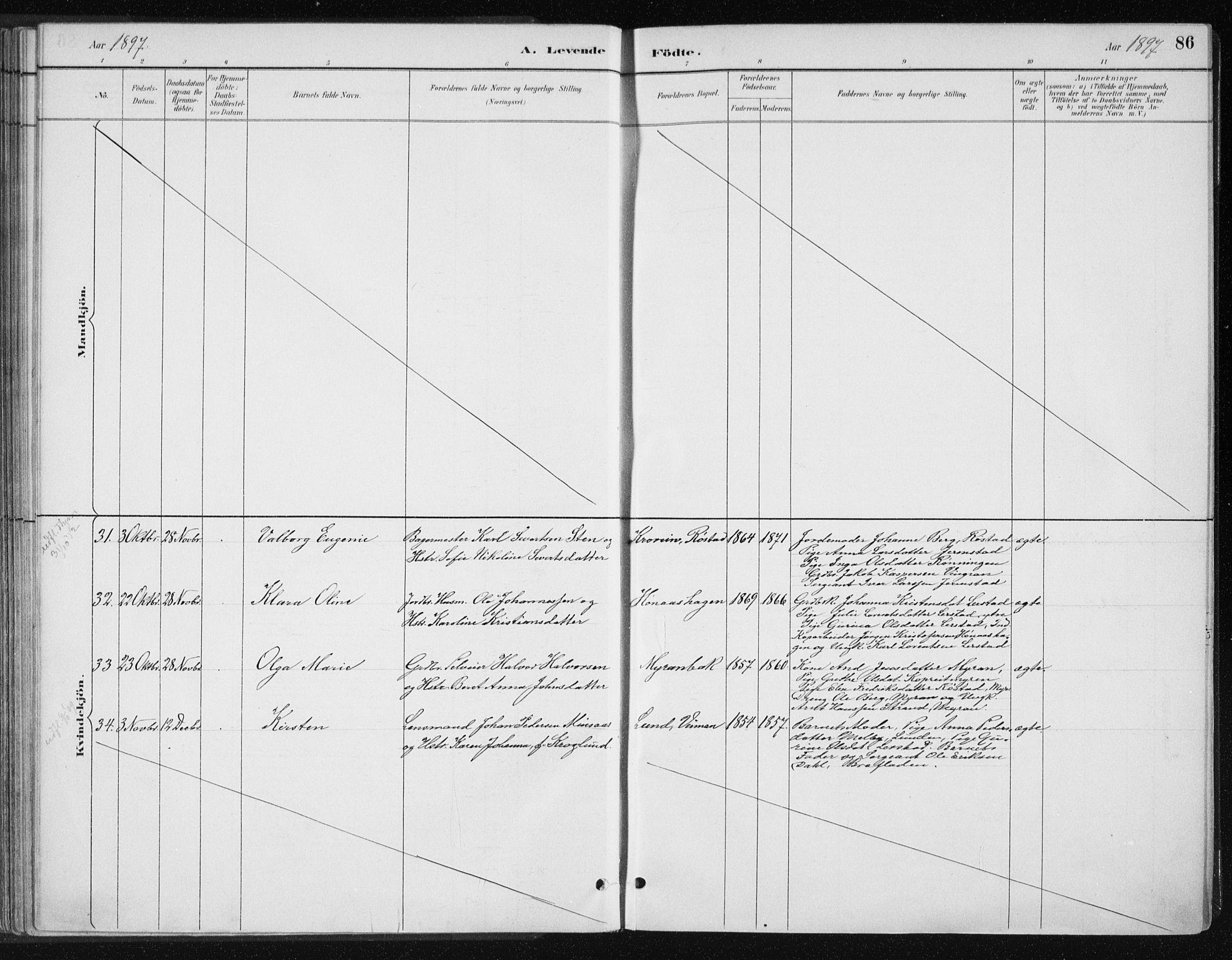 SAT, Ministerialprotokoller, klokkerbøker og fødselsregistre - Nord-Trøndelag, 701/L0010: Ministerialbok nr. 701A10, 1883-1899, s. 86