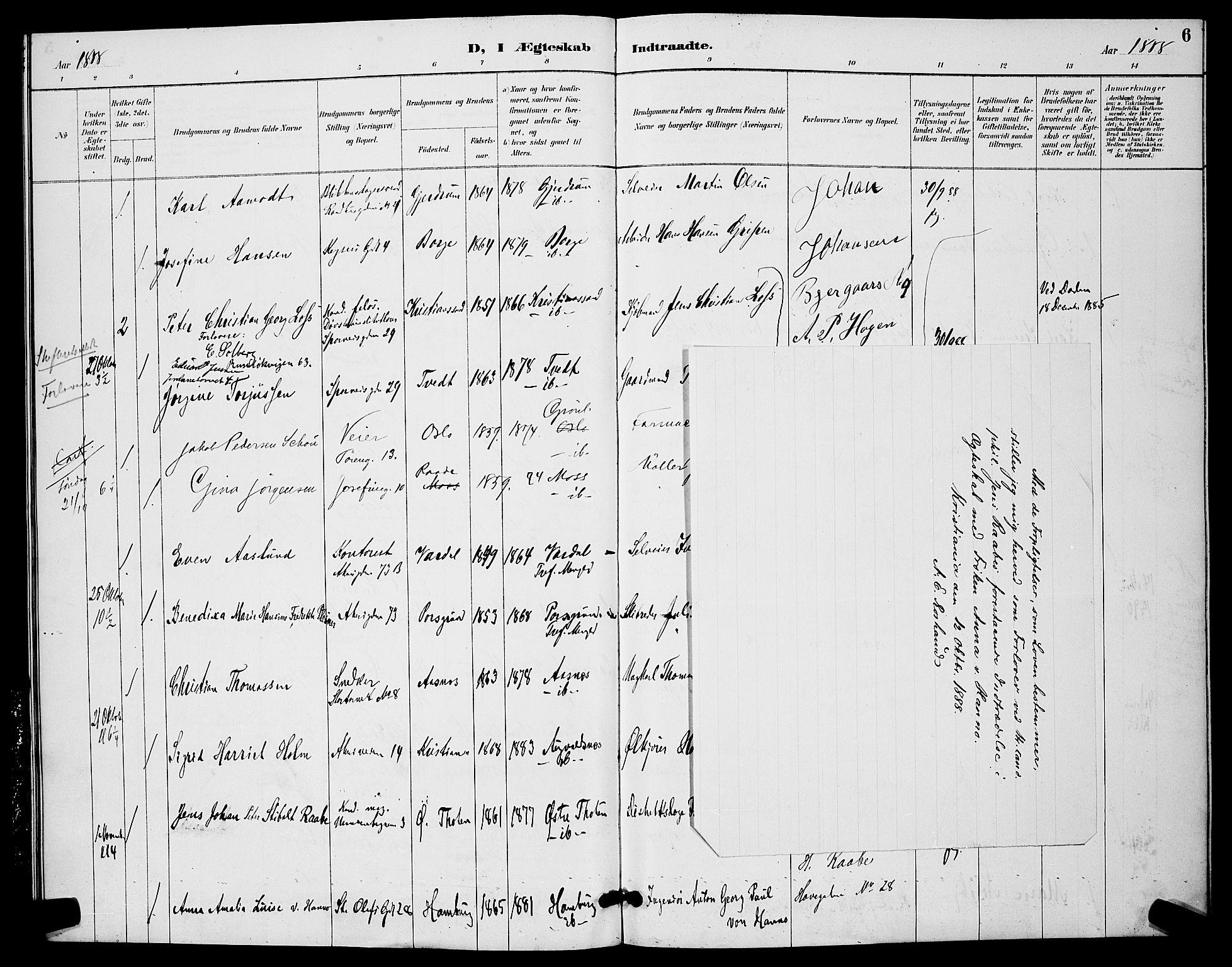 SAO, Trefoldighet prestekontor Kirkebøker, H/Ha/L0004: Lysningsprotokoll nr. 4, 1888-1894, s. 6