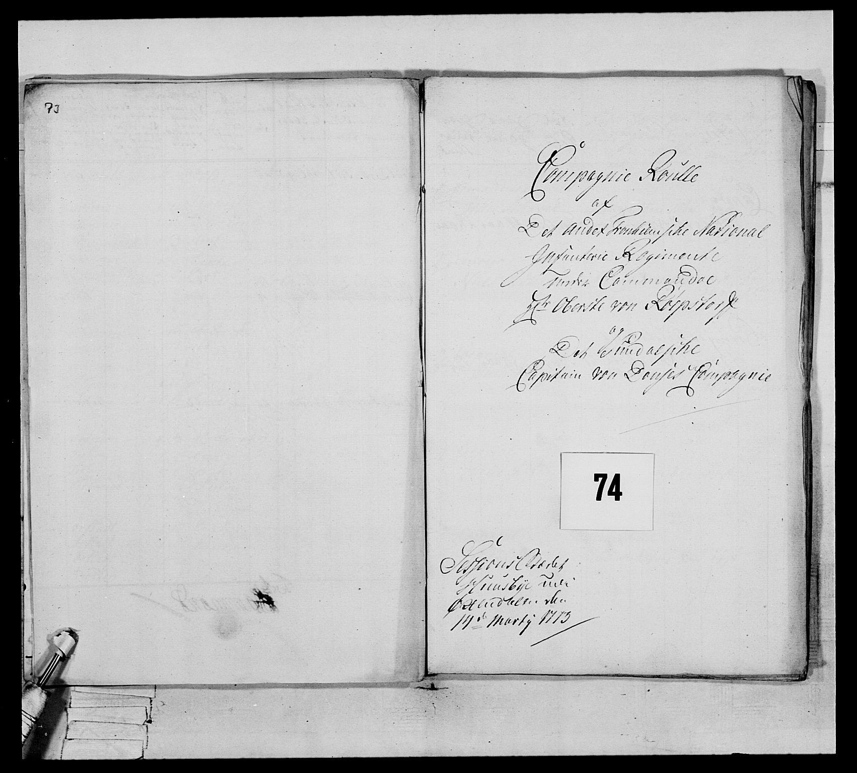RA, Generalitets- og kommissariatskollegiet, Det kongelige norske kommissariatskollegium, E/Eh/L0076: 2. Trondheimske nasjonale infanteriregiment, 1766-1773, s. 321
