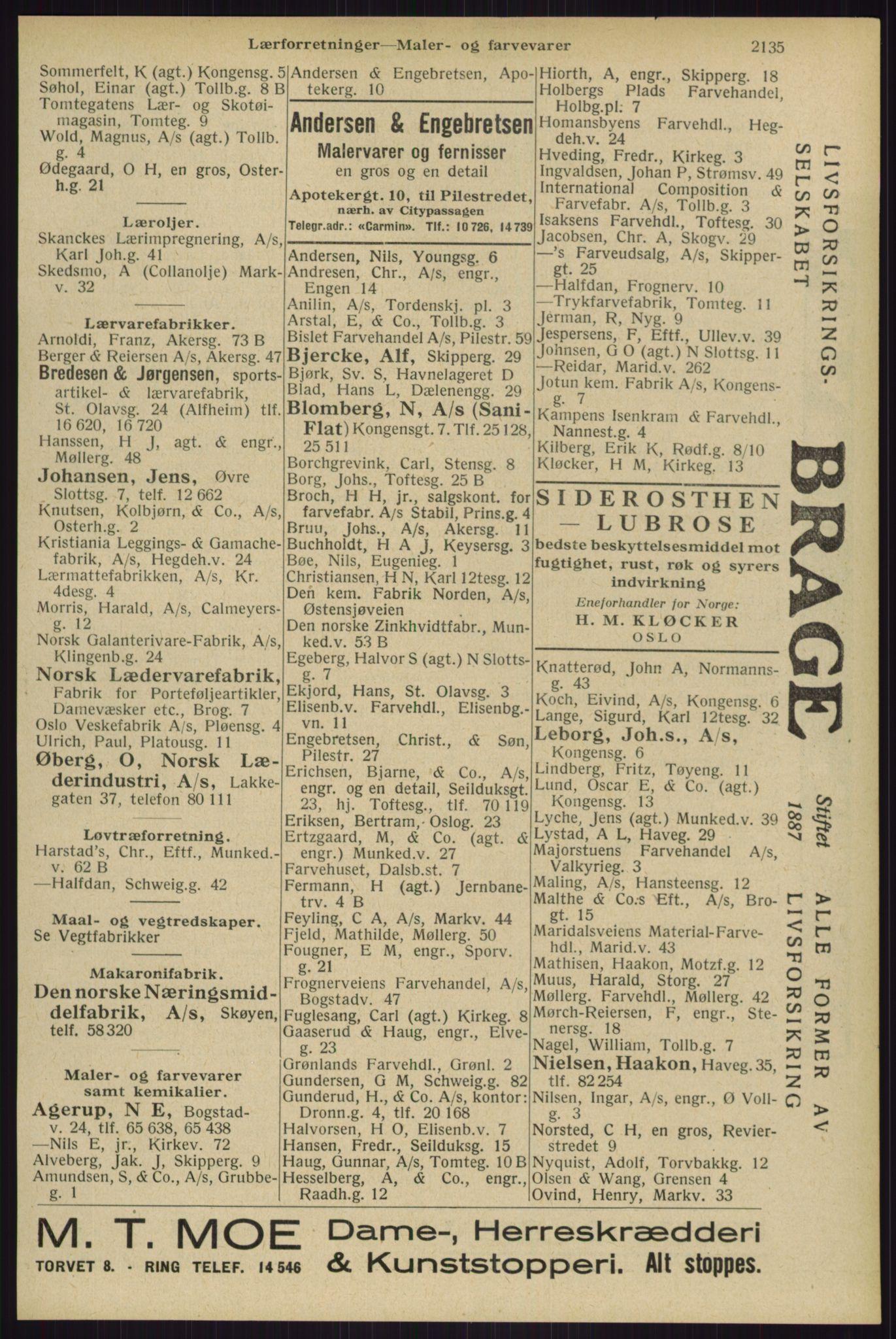 RA, Oslo adressebok (publikasjon)*, 1929, s. 2135