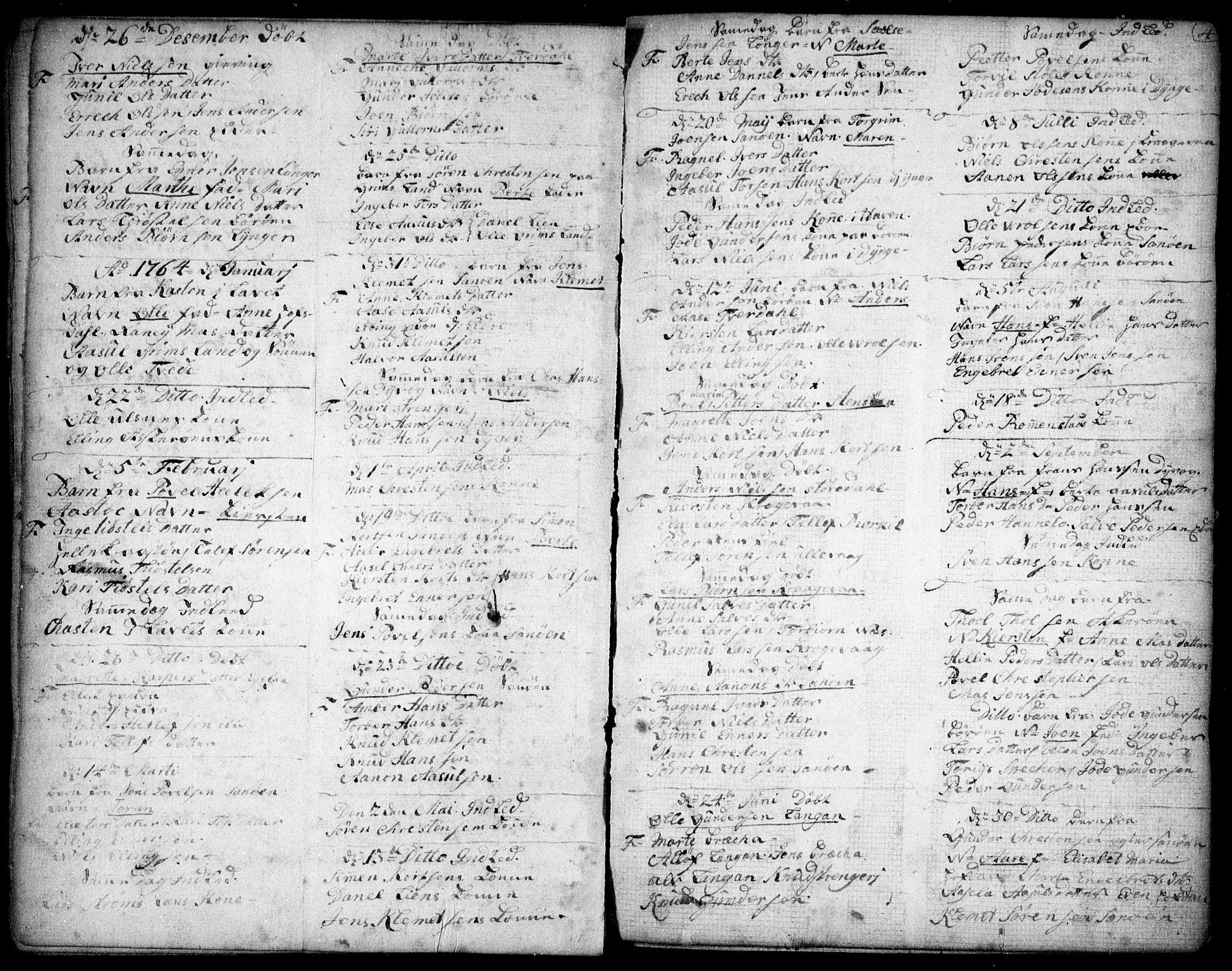 SAK, Dypvåg sokneprestkontor, F/Fb/Fba/L0007: Klokkerbok nr. B 7, 1762-1810, s. 4