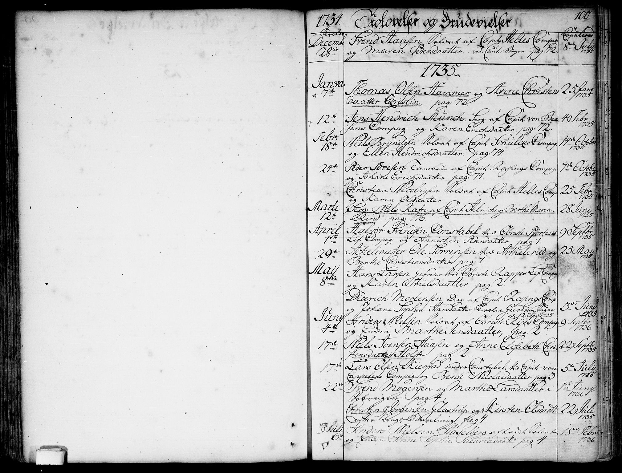 SAO, Garnisonsmenigheten Kirkebøker, F/Fa/L0001: Ministerialbok nr. 1, 1734-1756, s. 100