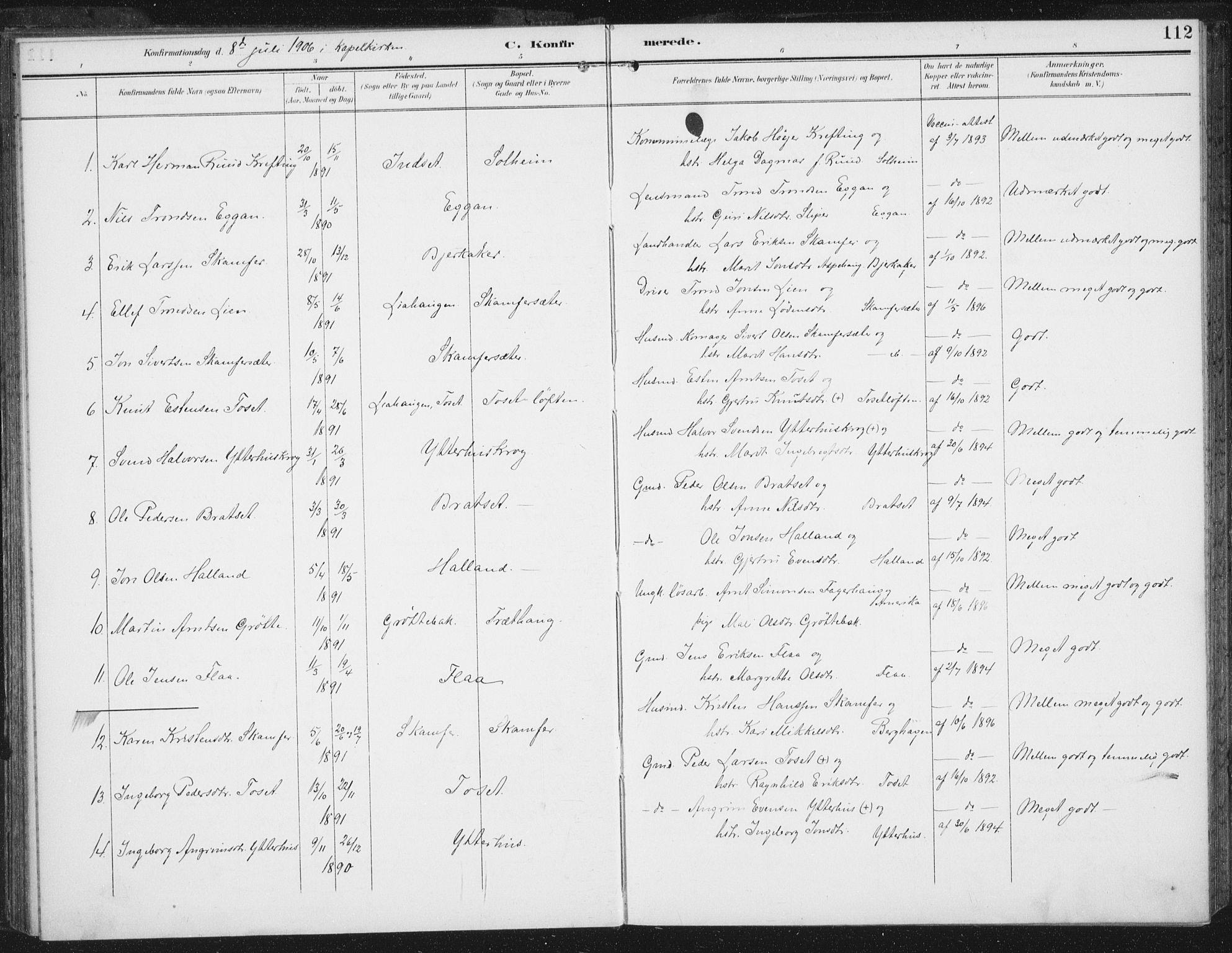 SAT, Ministerialprotokoller, klokkerbøker og fødselsregistre - Sør-Trøndelag, 674/L0872: Ministerialbok nr. 674A04, 1897-1907, s. 112