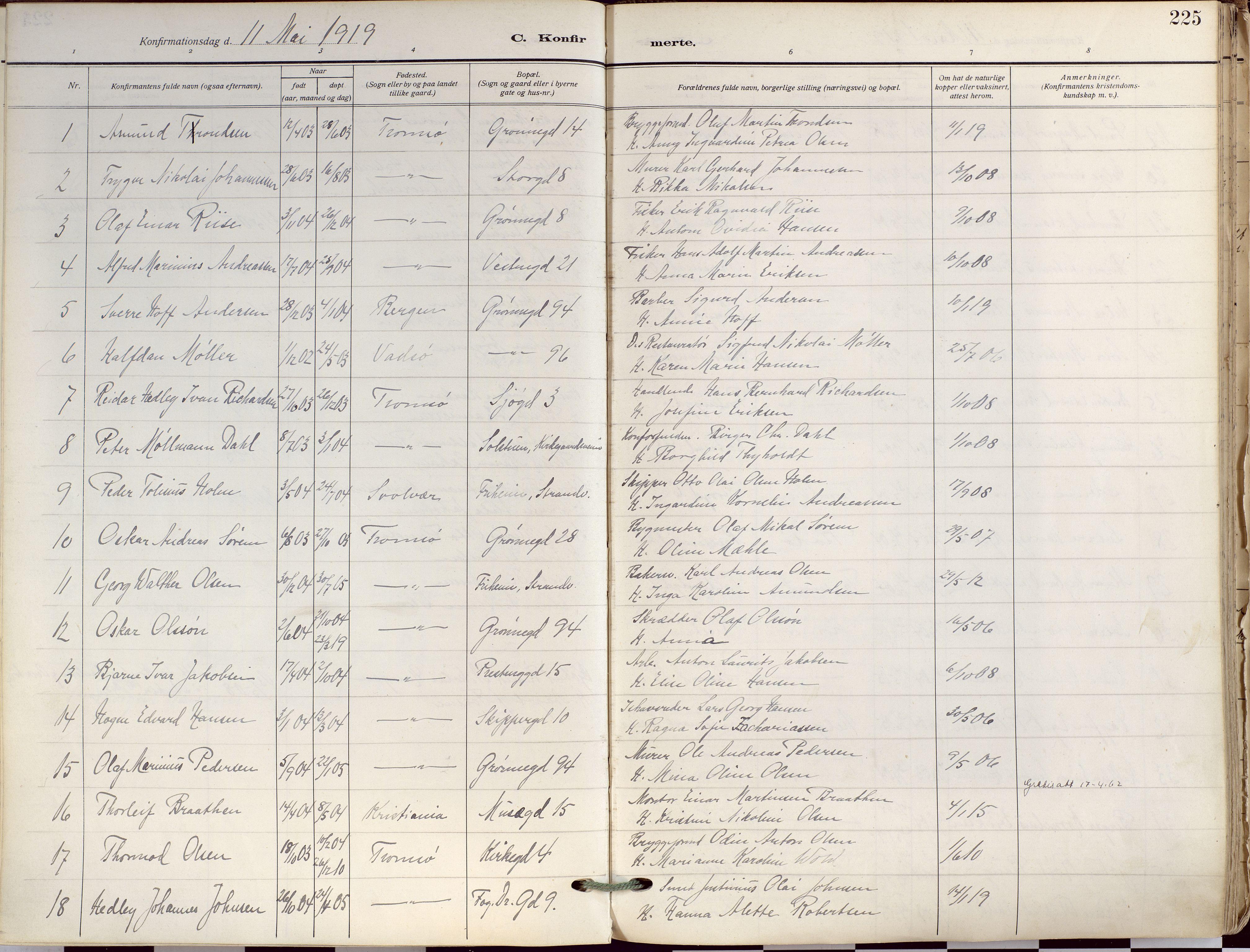 SATØ, Tromsø sokneprestkontor/stiftsprosti/domprosti, G/Ga/L0019kirke: Ministerialbok nr. 19, 1917-1927, s. 225