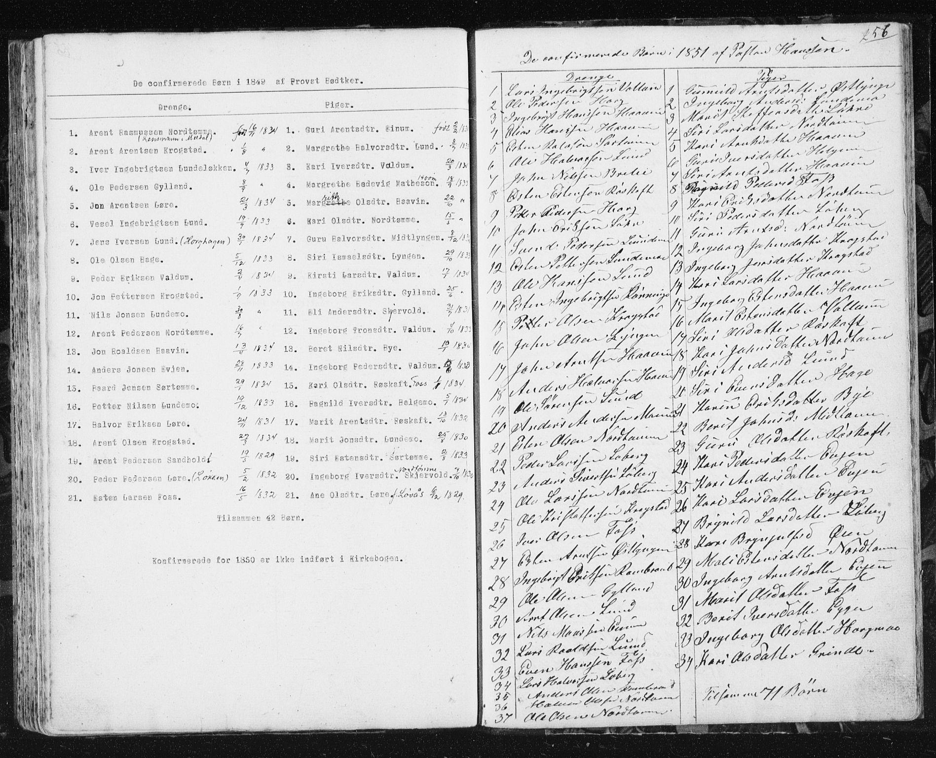 SAT, Ministerialprotokoller, klokkerbøker og fødselsregistre - Sør-Trøndelag, 692/L1110: Klokkerbok nr. 692C05, 1849-1889, s. 256