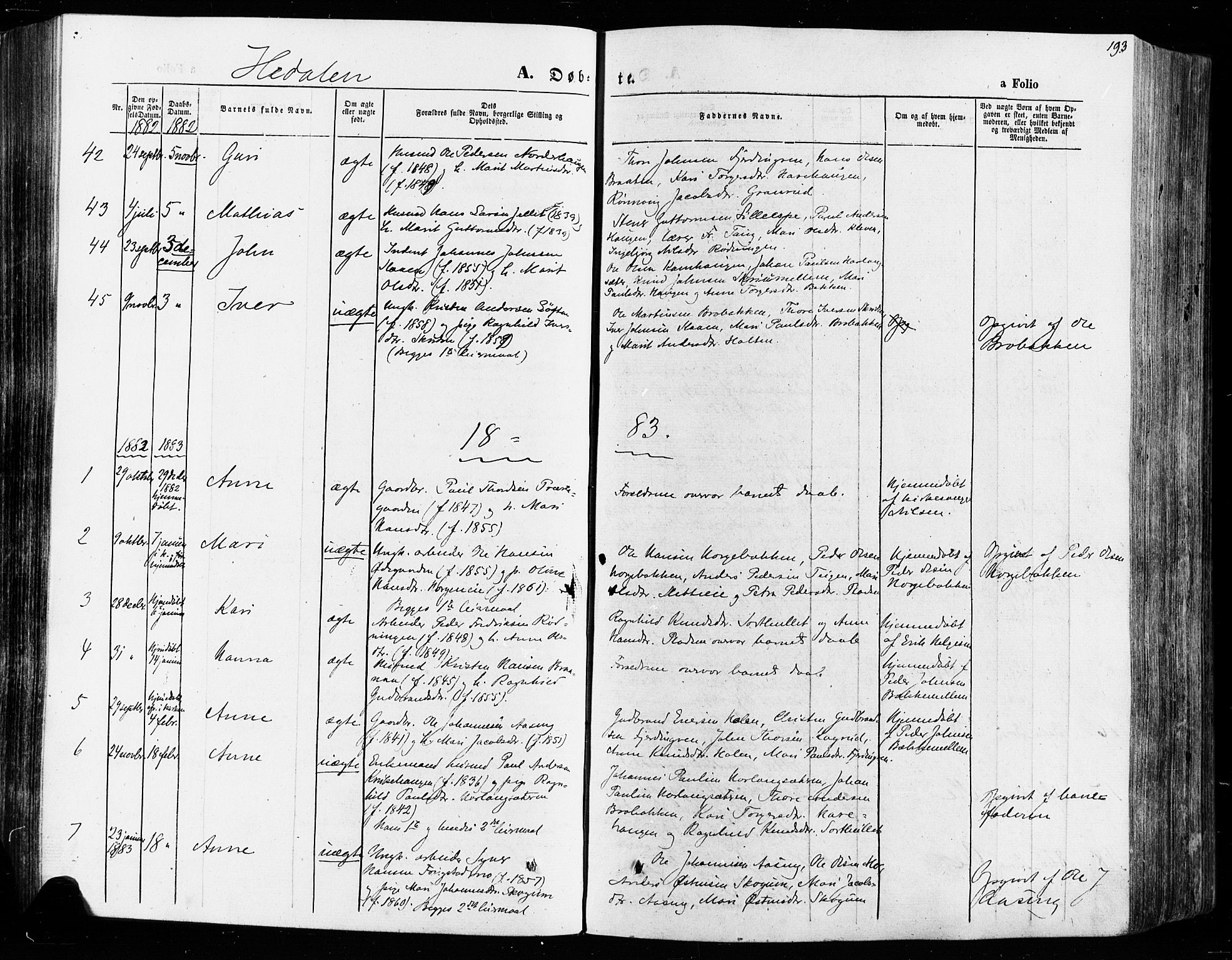 SAH, Vågå prestekontor, Ministerialbok nr. 7 /2, 1873-1886, s. 193