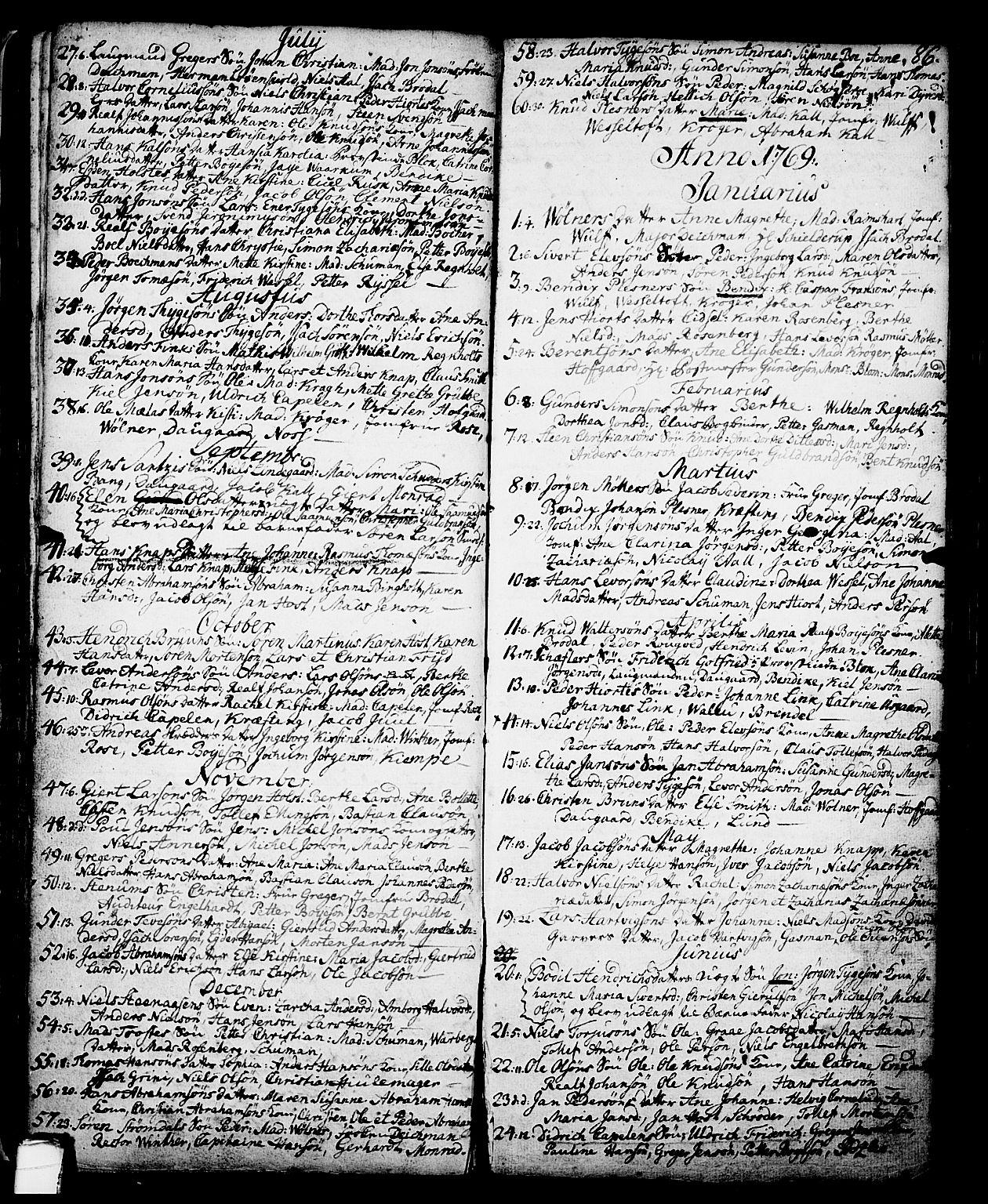 SAKO, Skien kirkebøker, G/Ga/L0001: Klokkerbok nr. 1, 1756-1791, s. 86