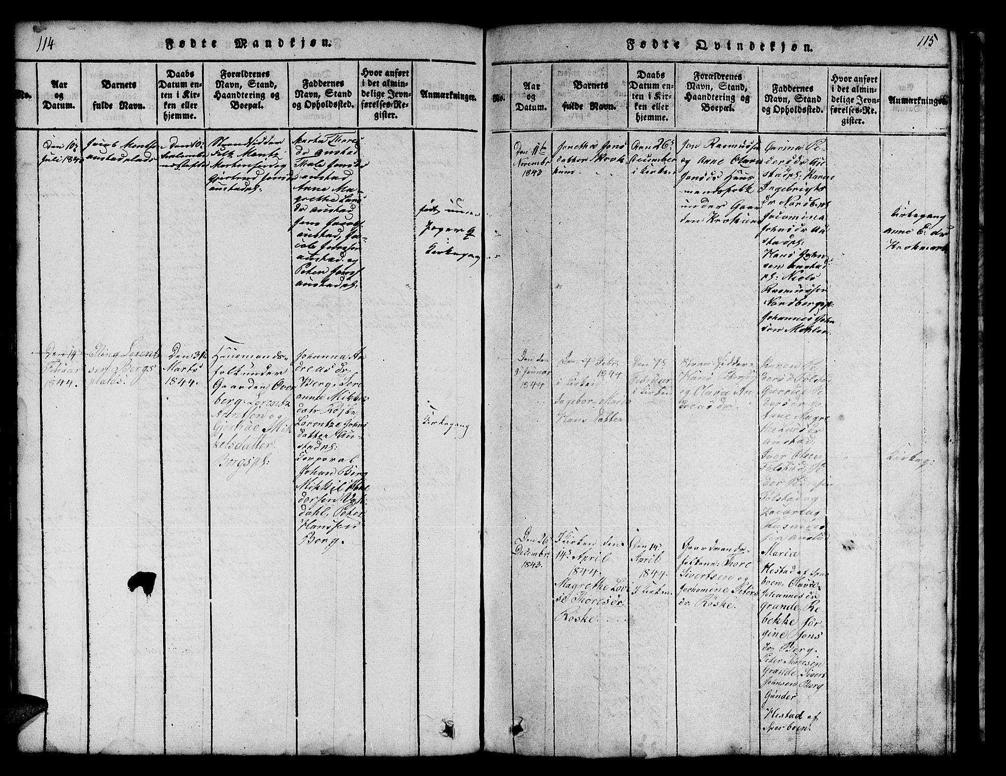 SAT, Ministerialprotokoller, klokkerbøker og fødselsregistre - Nord-Trøndelag, 731/L0310: Klokkerbok nr. 731C01, 1816-1874, s. 114-115