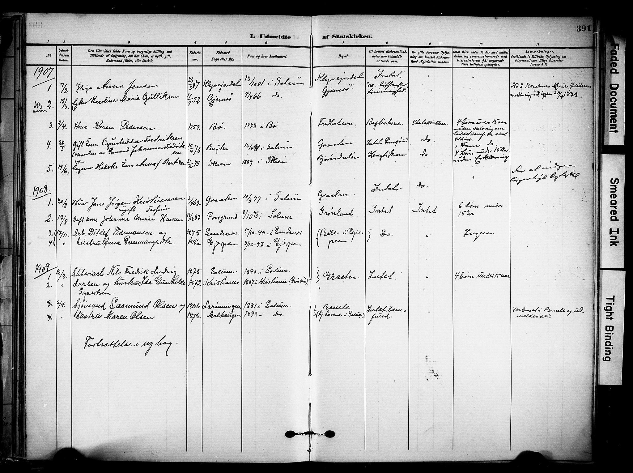 SAKO, Solum kirkebøker, F/Fa/L0011: Ministerialbok nr. I 11, 1898-1909, s. 391