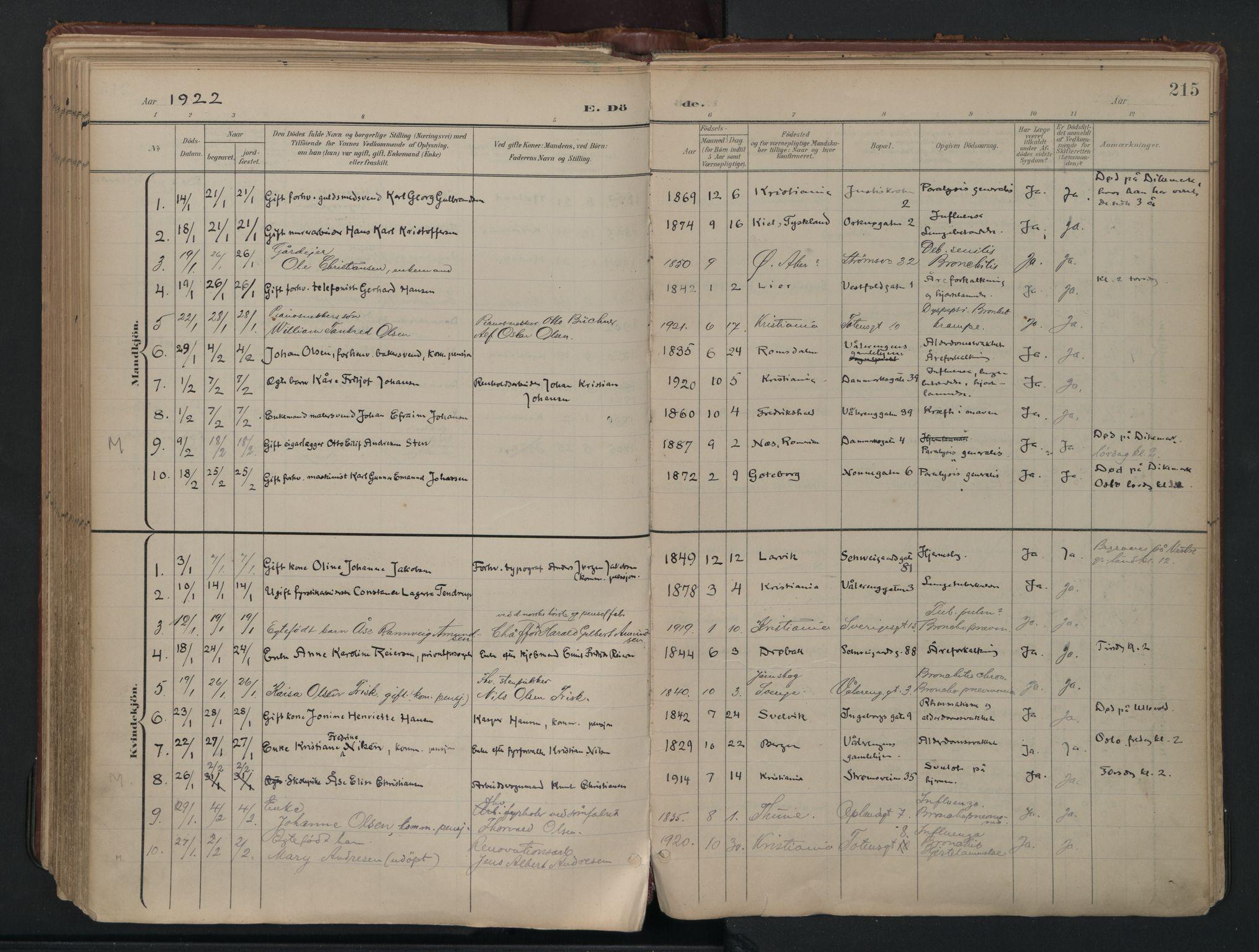 SAO, Vålerengen prestekontor Kirkebøker, F/Fa/L0003: Ministerialbok nr. 3, 1899-1930, s. 215