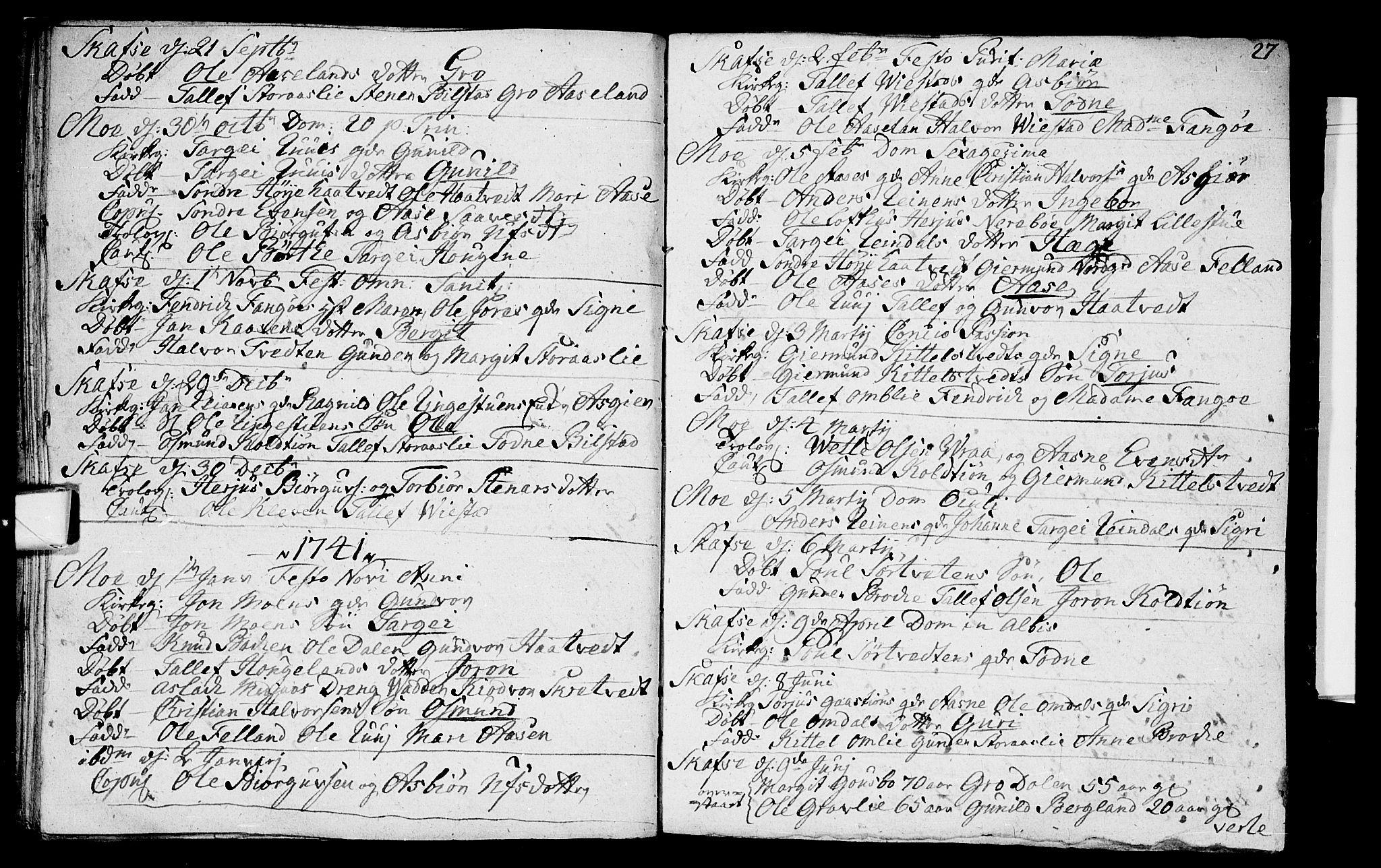 SAKO, Mo kirkebøker, F/Fa/L0001: Ministerialbok nr. I 1, 1724-1748, s. 27