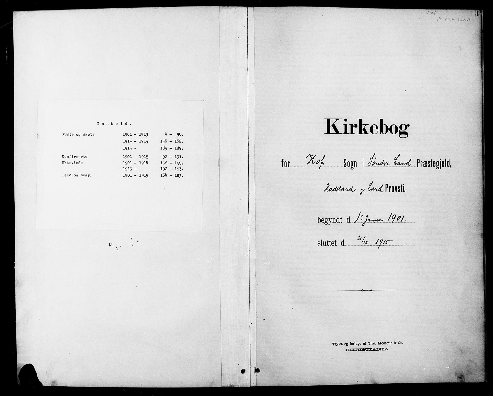 SAH, Søndre Land prestekontor, L/L0004: Klokkerbok nr. 4, 1901-1915, s. 1