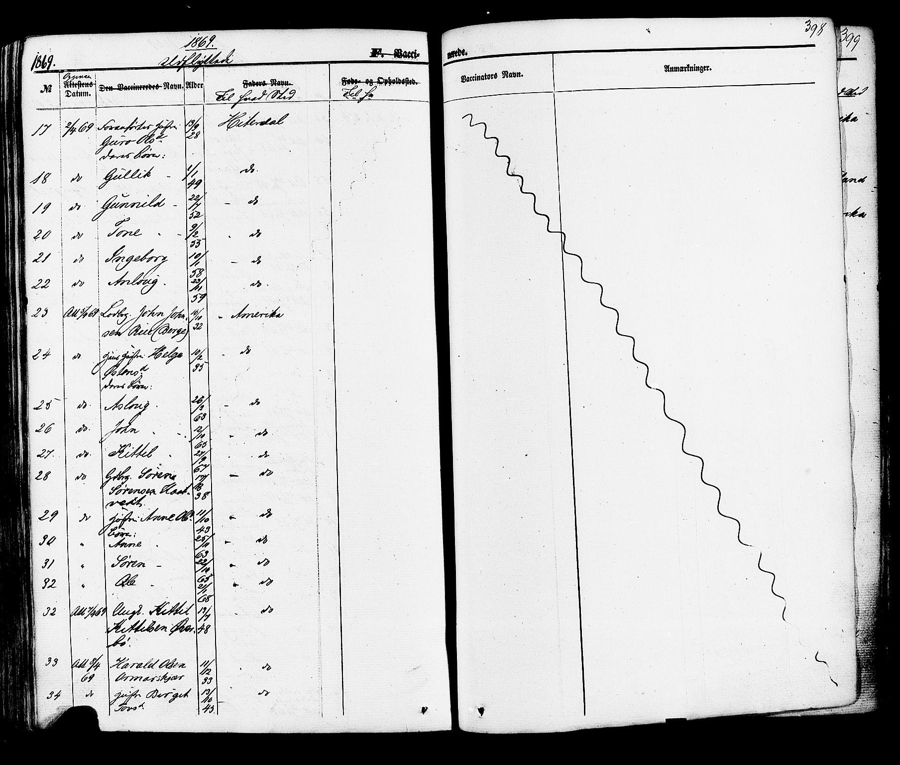 SAKO, Hjartdal kirkebøker, F/Fa/L0009: Ministerialbok nr. I 9, 1860-1879, s. 398