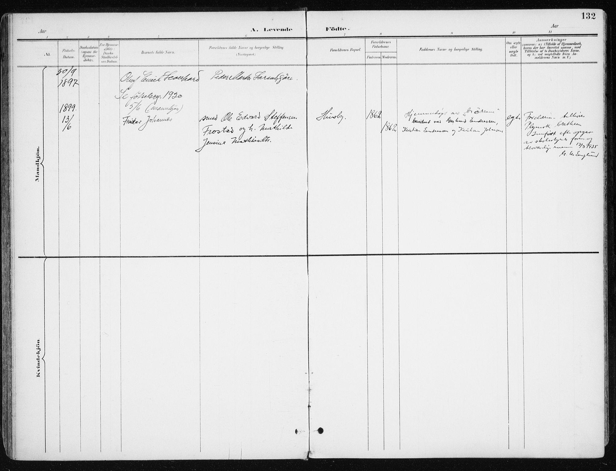 SATØ, Kvæfjord sokneprestkontor, G/Ga/Gaa/L0006kirke: Ministerialbok nr. 6, 1895-1914, s. 132
