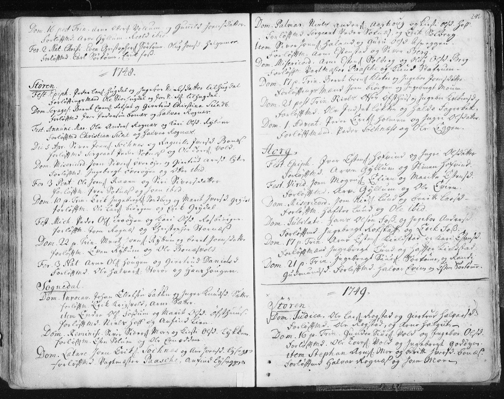 SAT, Ministerialprotokoller, klokkerbøker og fødselsregistre - Sør-Trøndelag, 687/L0991: Ministerialbok nr. 687A02, 1747-1790, s. 242