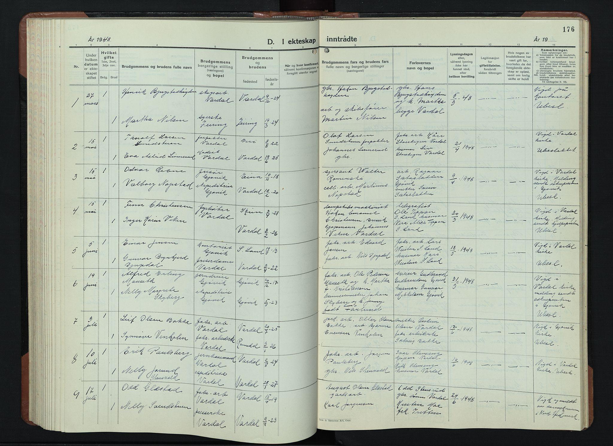 SAH, Vardal prestekontor, H/Ha/Hab/L0018: Klokkerbok nr. 18, 1931-1951, s. 176