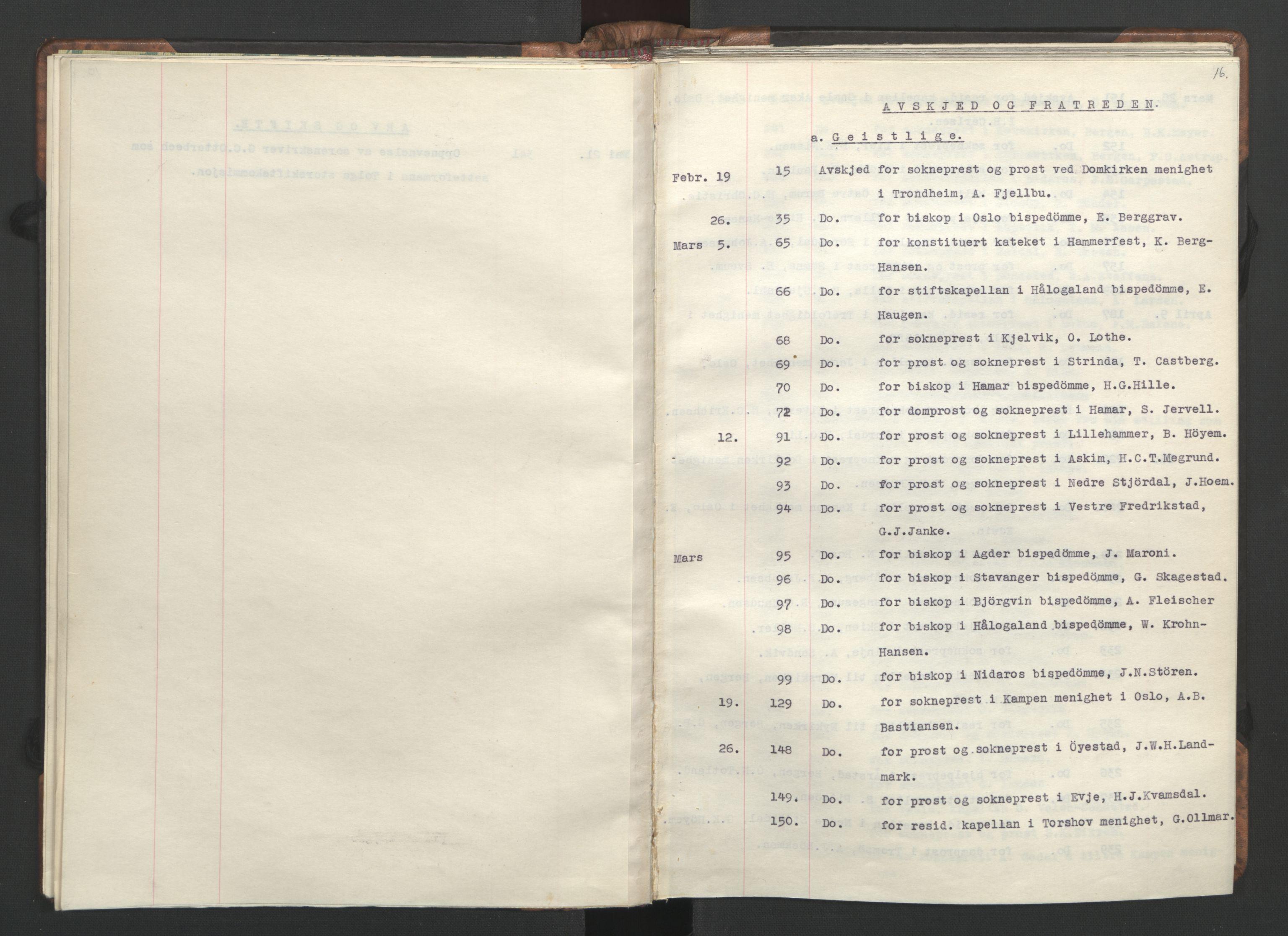 RA, NS-administrasjonen 1940-1945 (Statsrådsekretariatet, de kommisariske statsråder mm), D/Da/L0002: Register (RA j.nr. 985/1943, tilgangsnr. 17/1943), 1942, s. 15b-16a